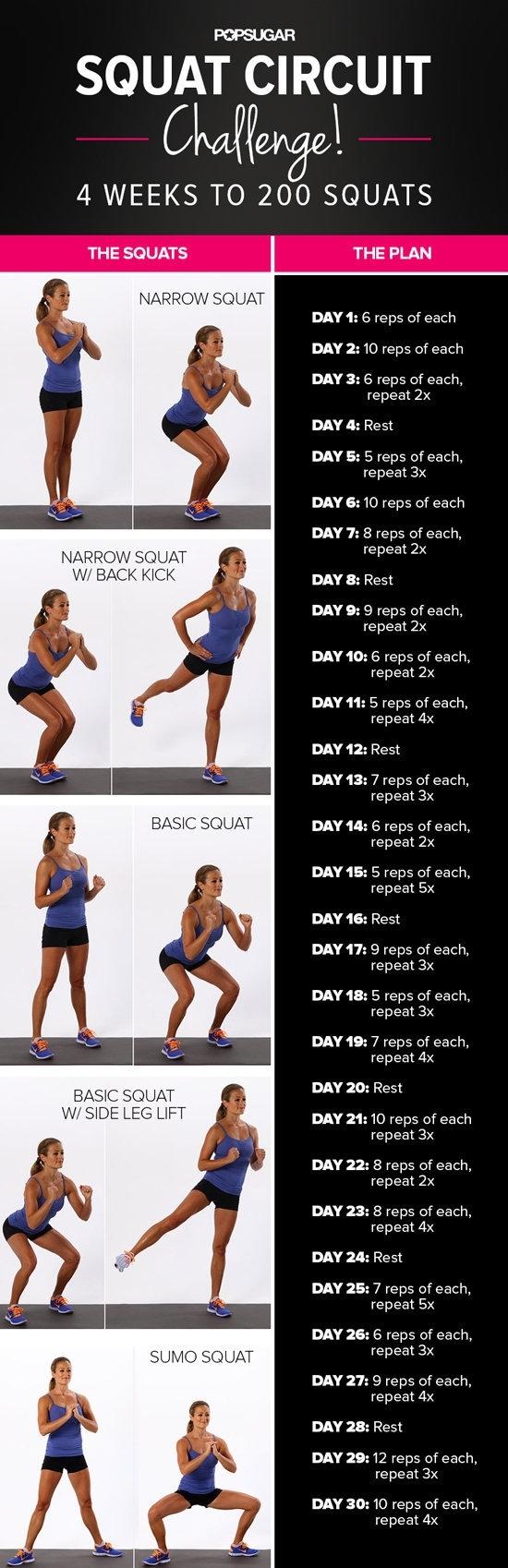 30-Day Squat Challenge | Popsugar Fitness Middle East