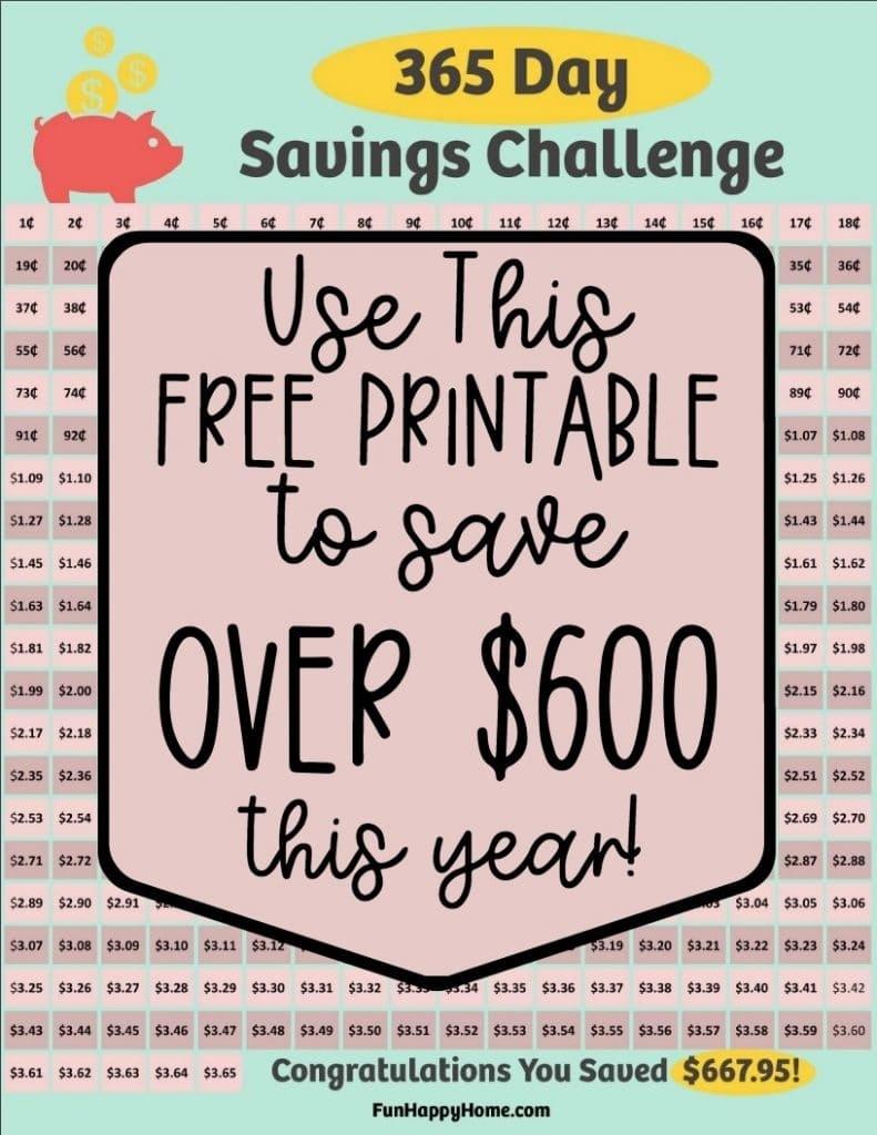 365 Day Penny Saving Challenge: A Free Printable