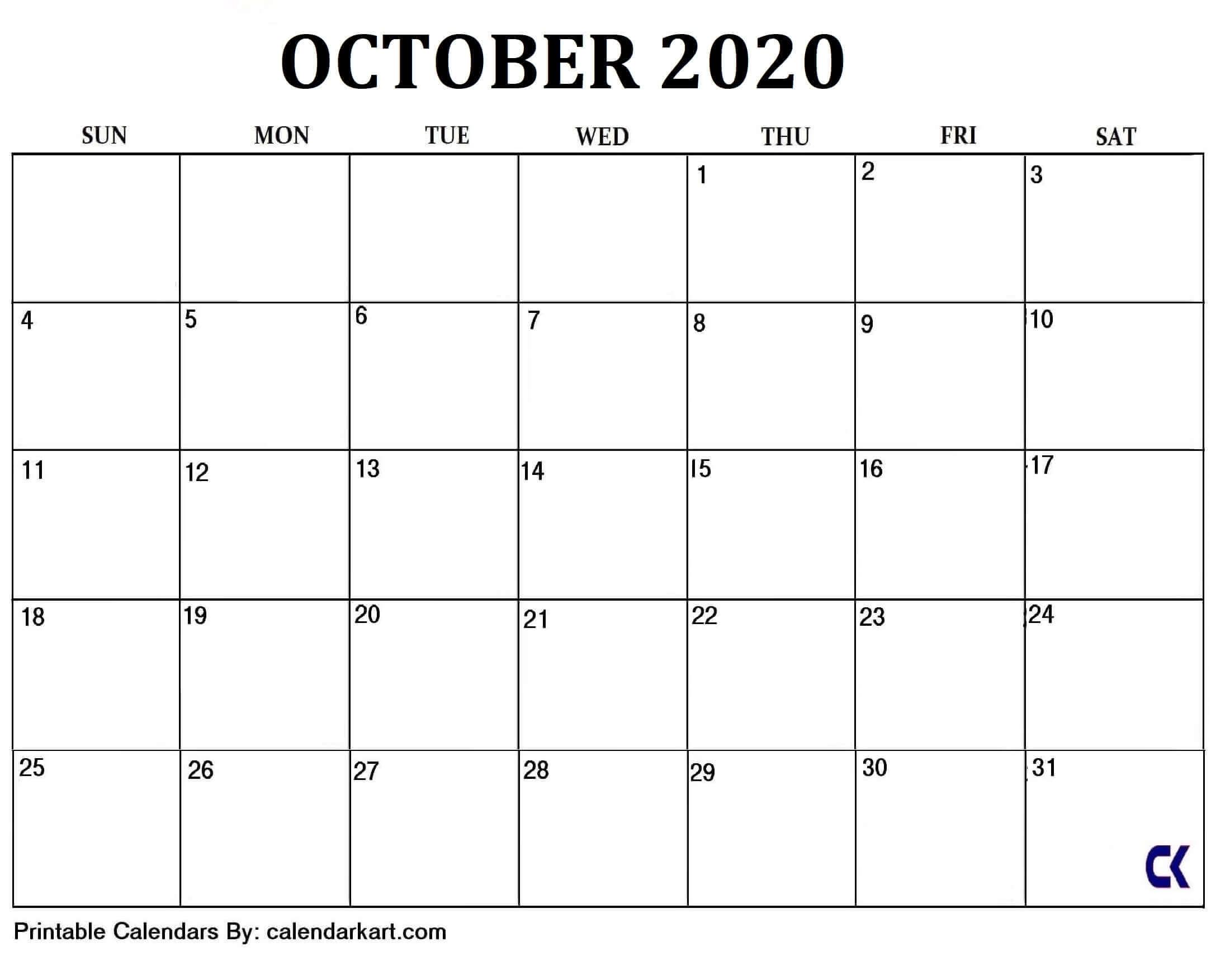 6 Cute And Elegant Free Printable October 2020 Calendar