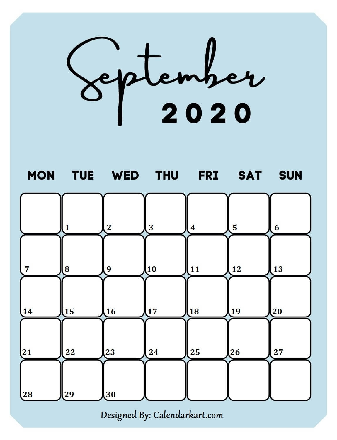 6 Cute & Free Printable September 2020 Calendar: Stylish