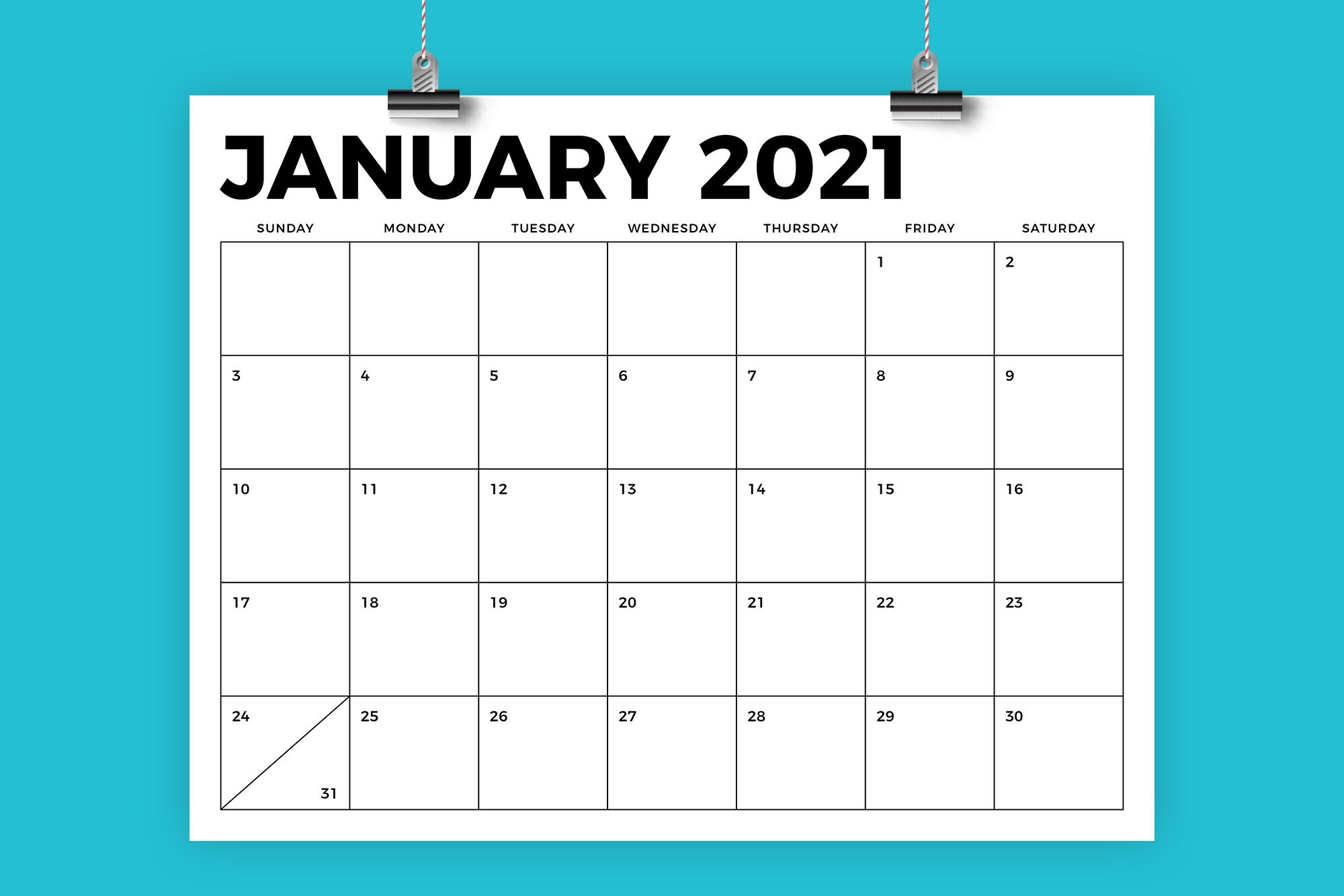 85 X 11 Inch Bold 2021 Calendar By Running With Foxes