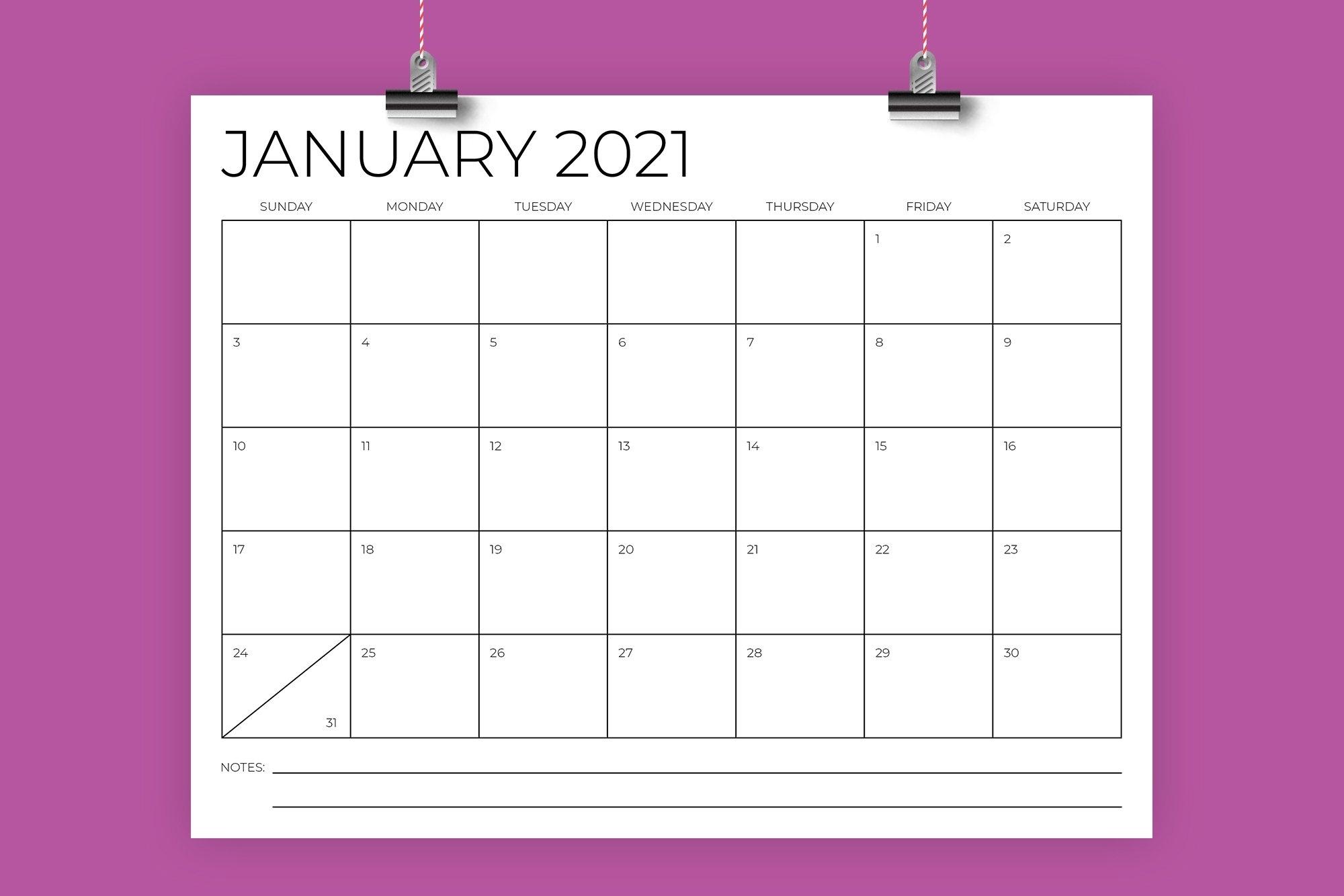 85 X 11 Inch Minimal 2021 Calendar