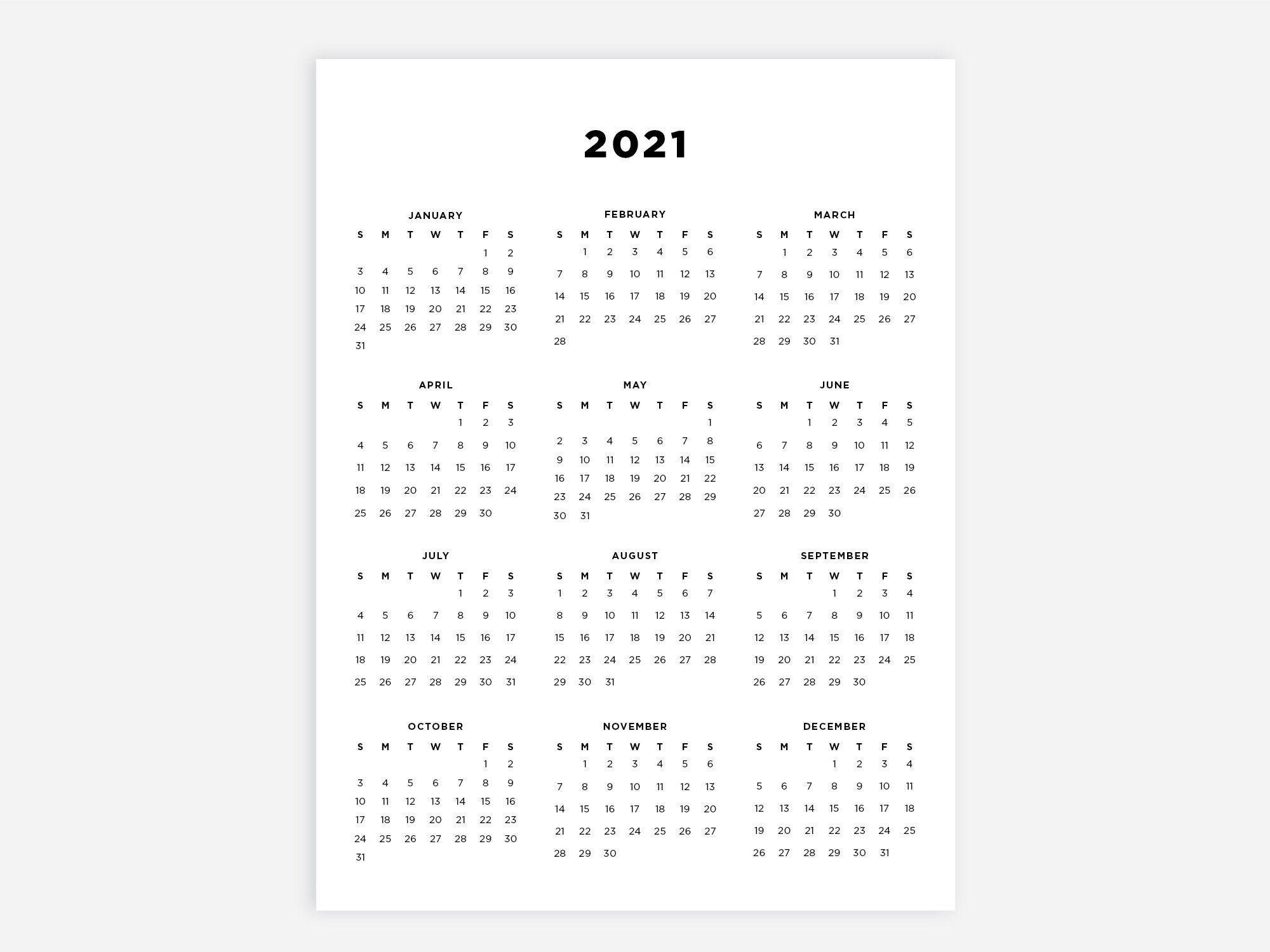 85X11 Printable Calendar 2021 Letter Calendar 2021 Year
