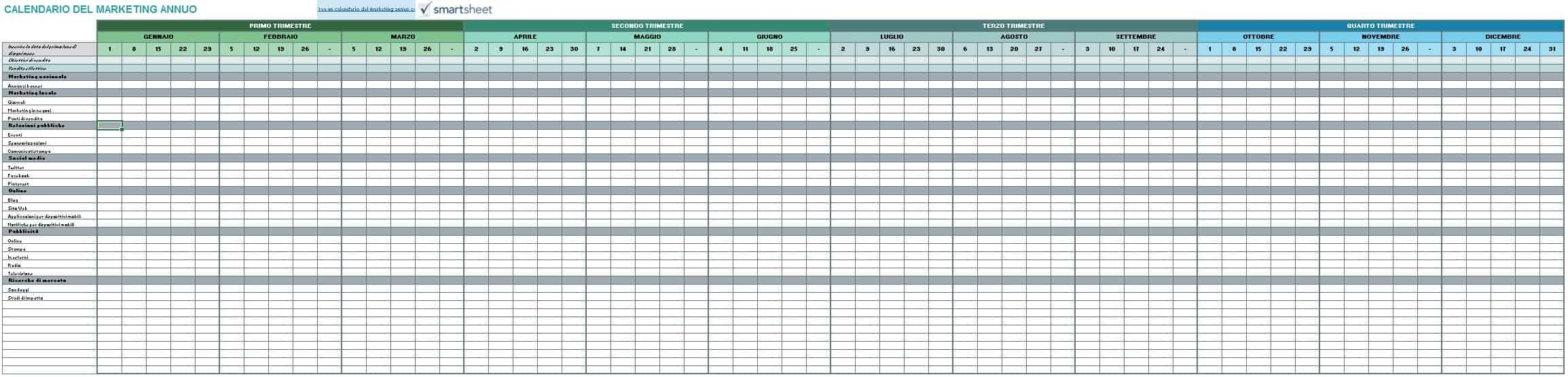 9 Modelli Di Calendari Di Marketing Gratuiti Di Excel
