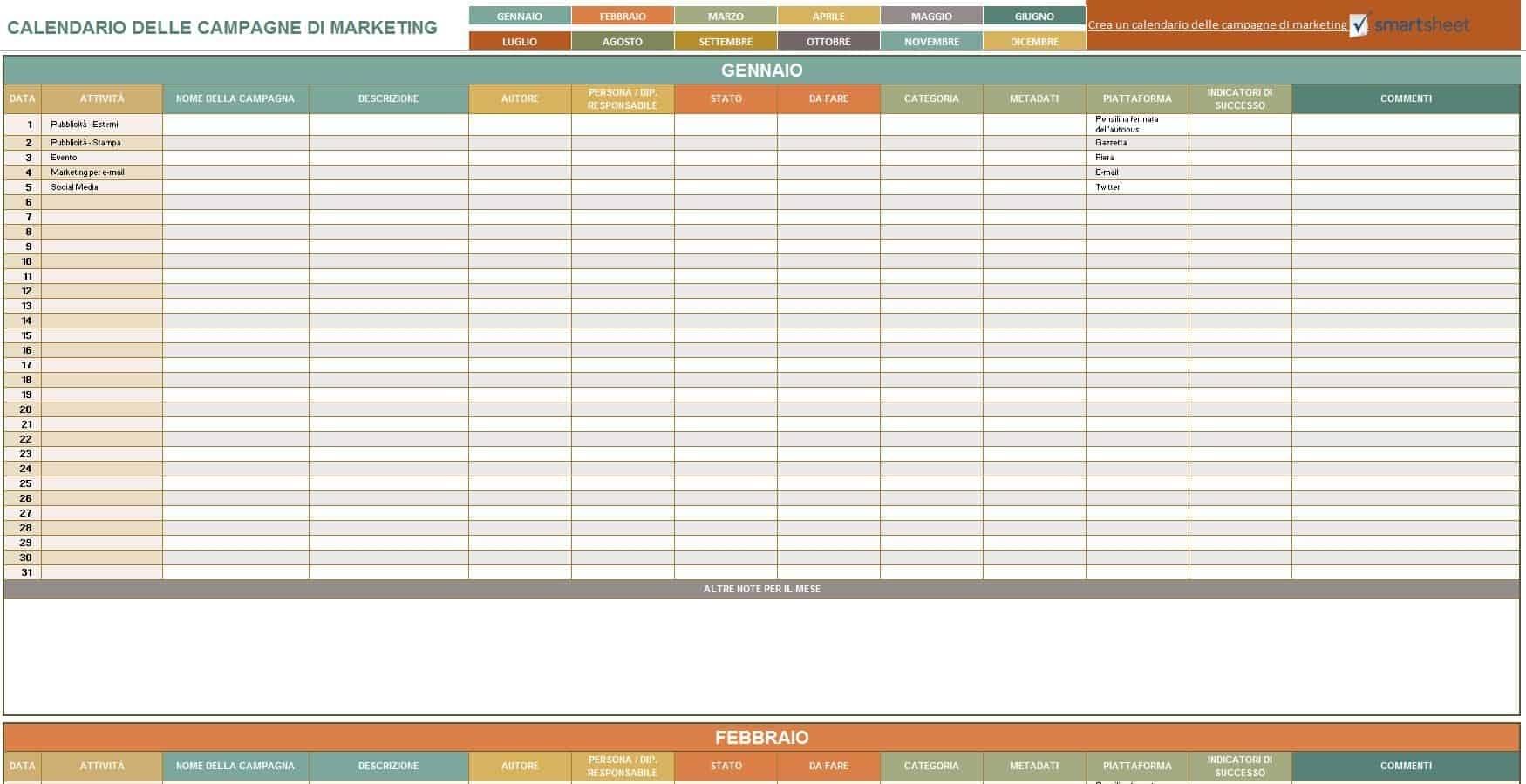 9 Modelli Di Calendari Di Marketing Gratuiti Di Excel