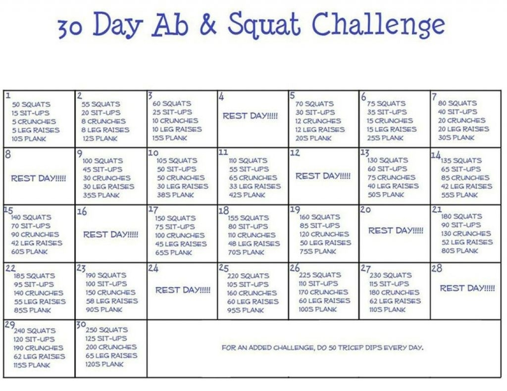 Ab And Squat Challenge Calendar Printable In 2020 | Squat