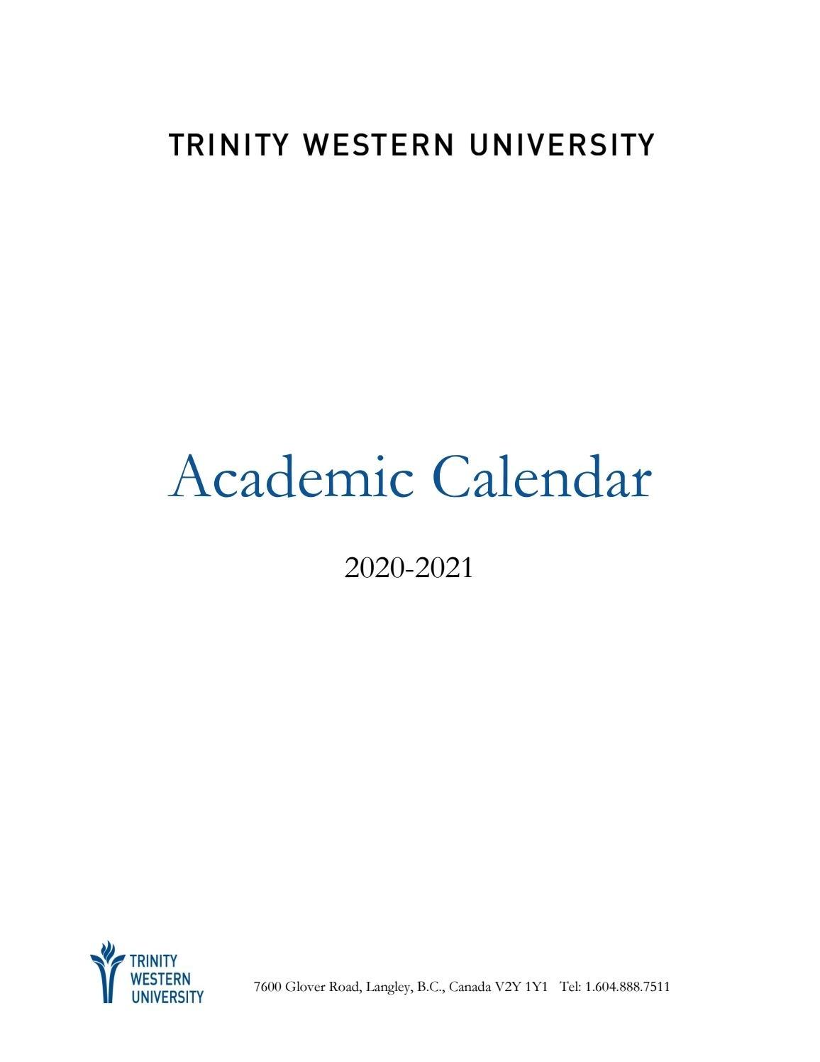 Academic Calendar 2020-21 By Twu - Issuu