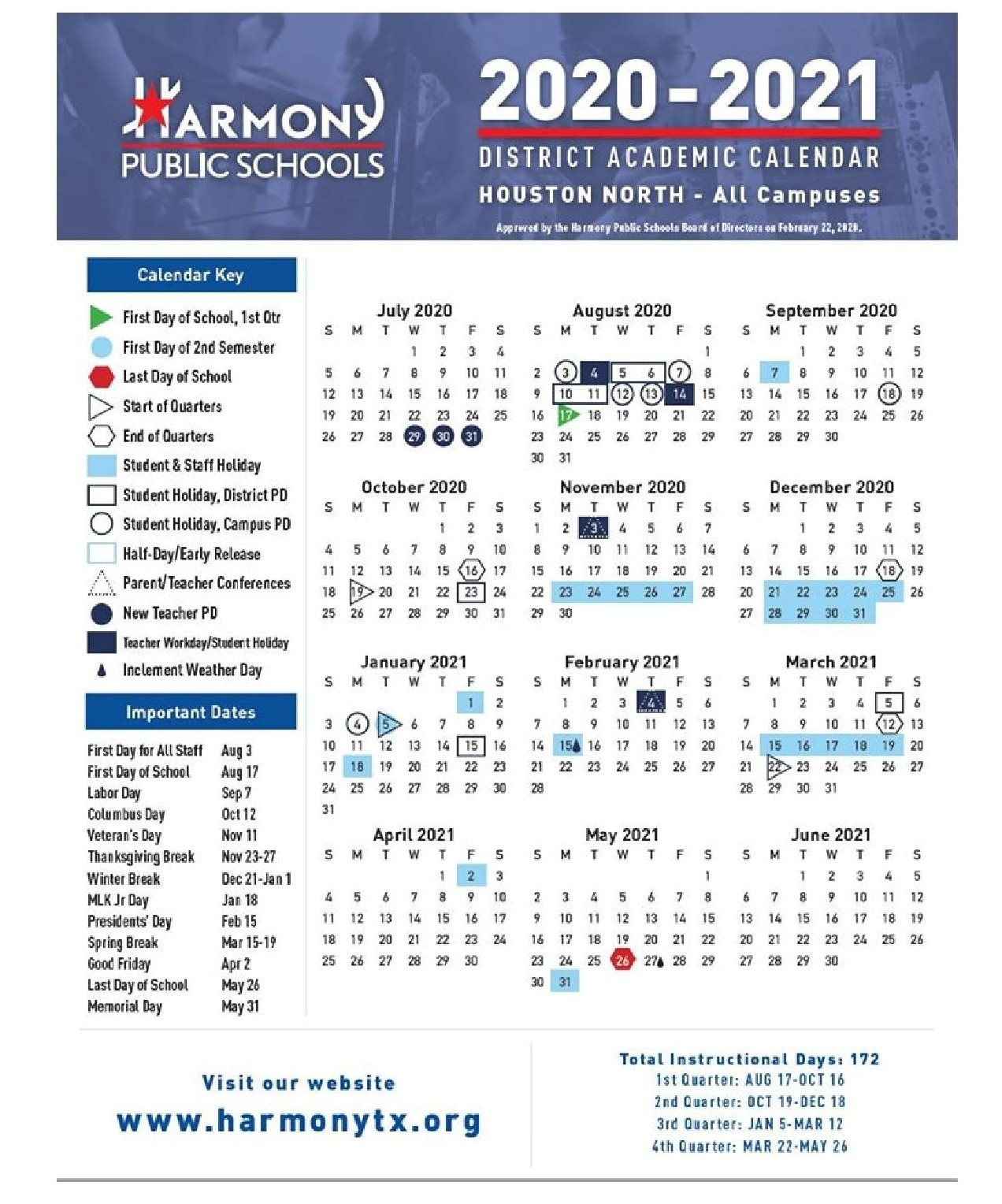 Academic Calendar - – Harmony School Of Achievement – Houston