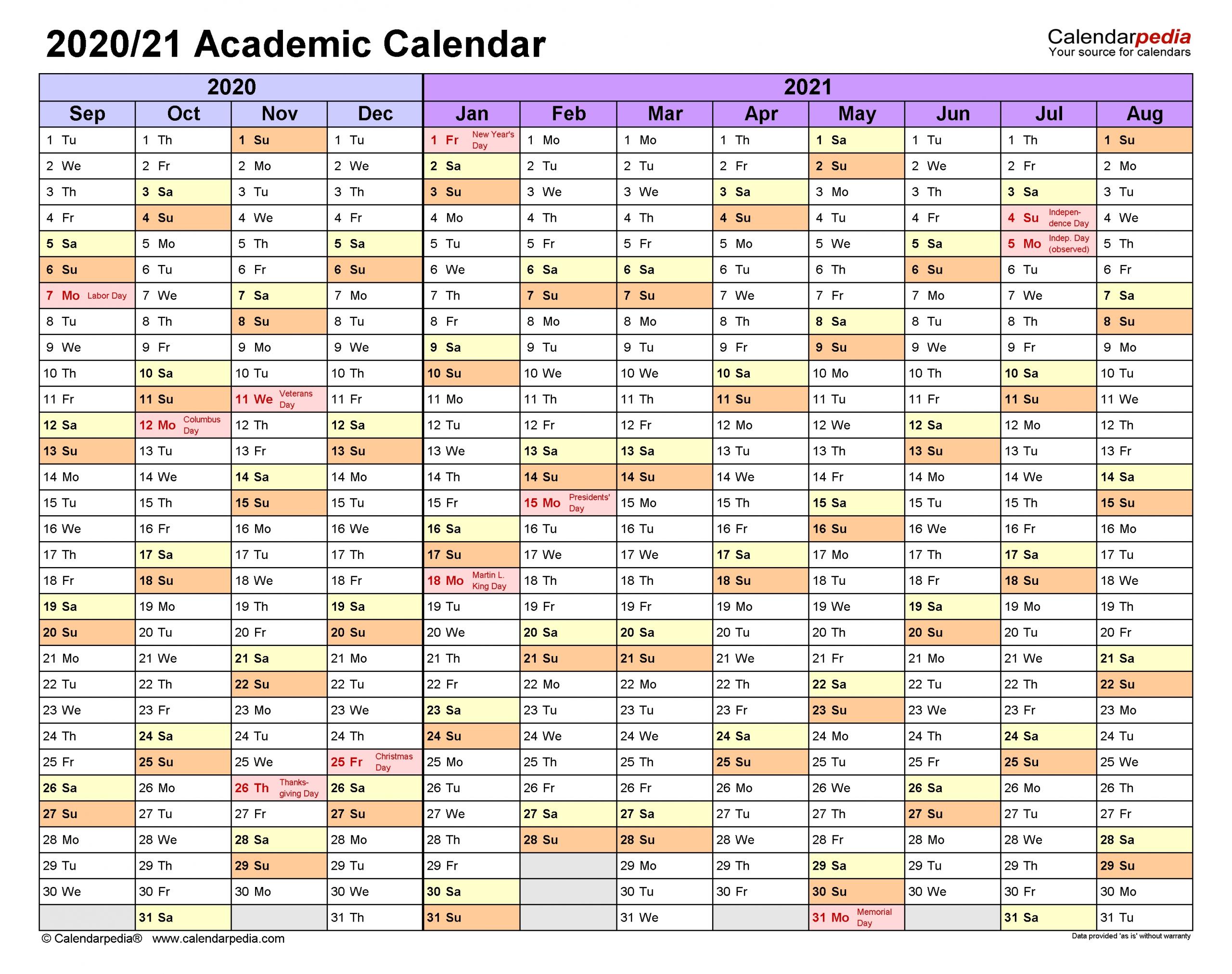 Academic Calendars 2020/2021 - Free Printable Excel Templates