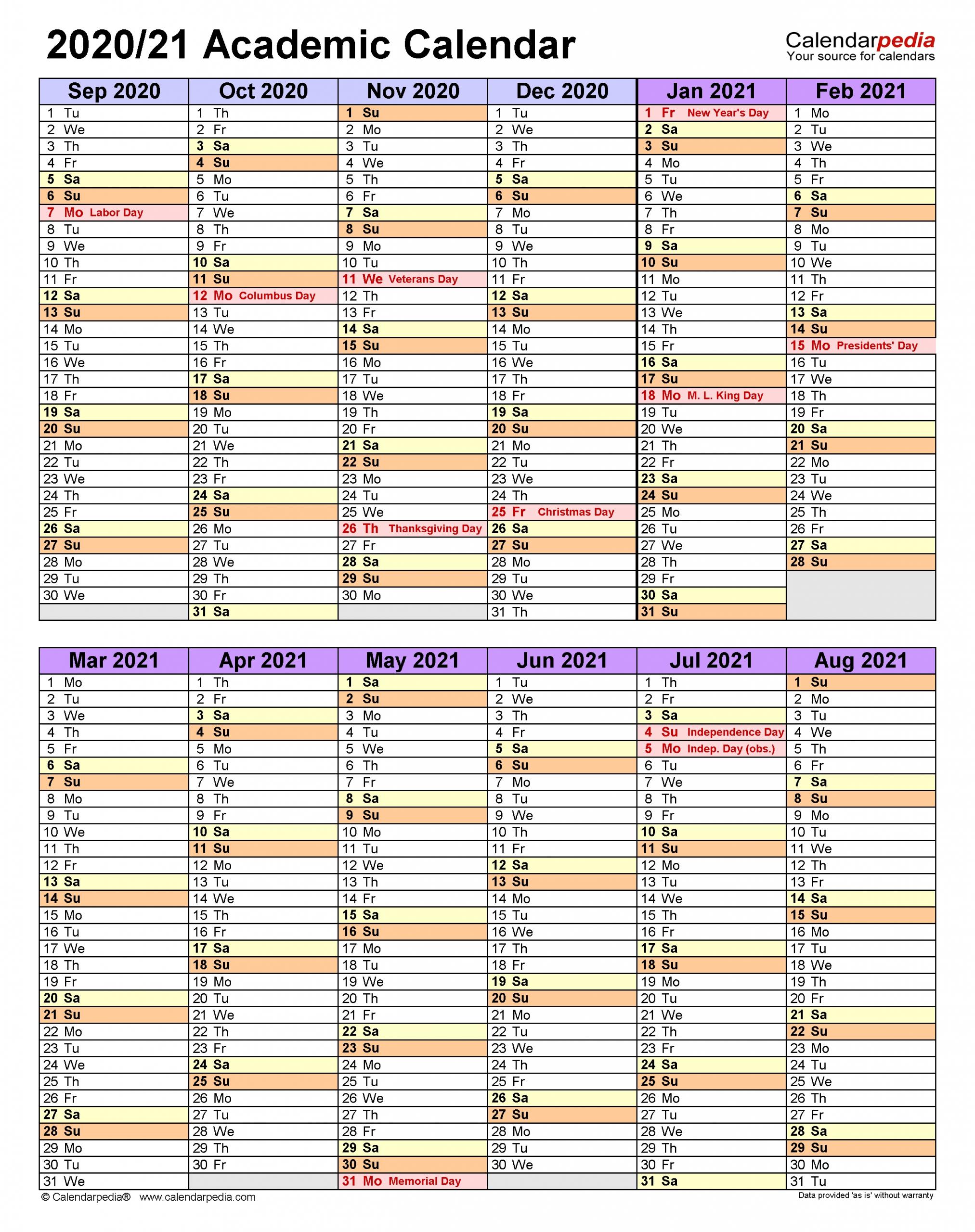 Academic Calendars 2020/2021 - Free Printable Word Templates