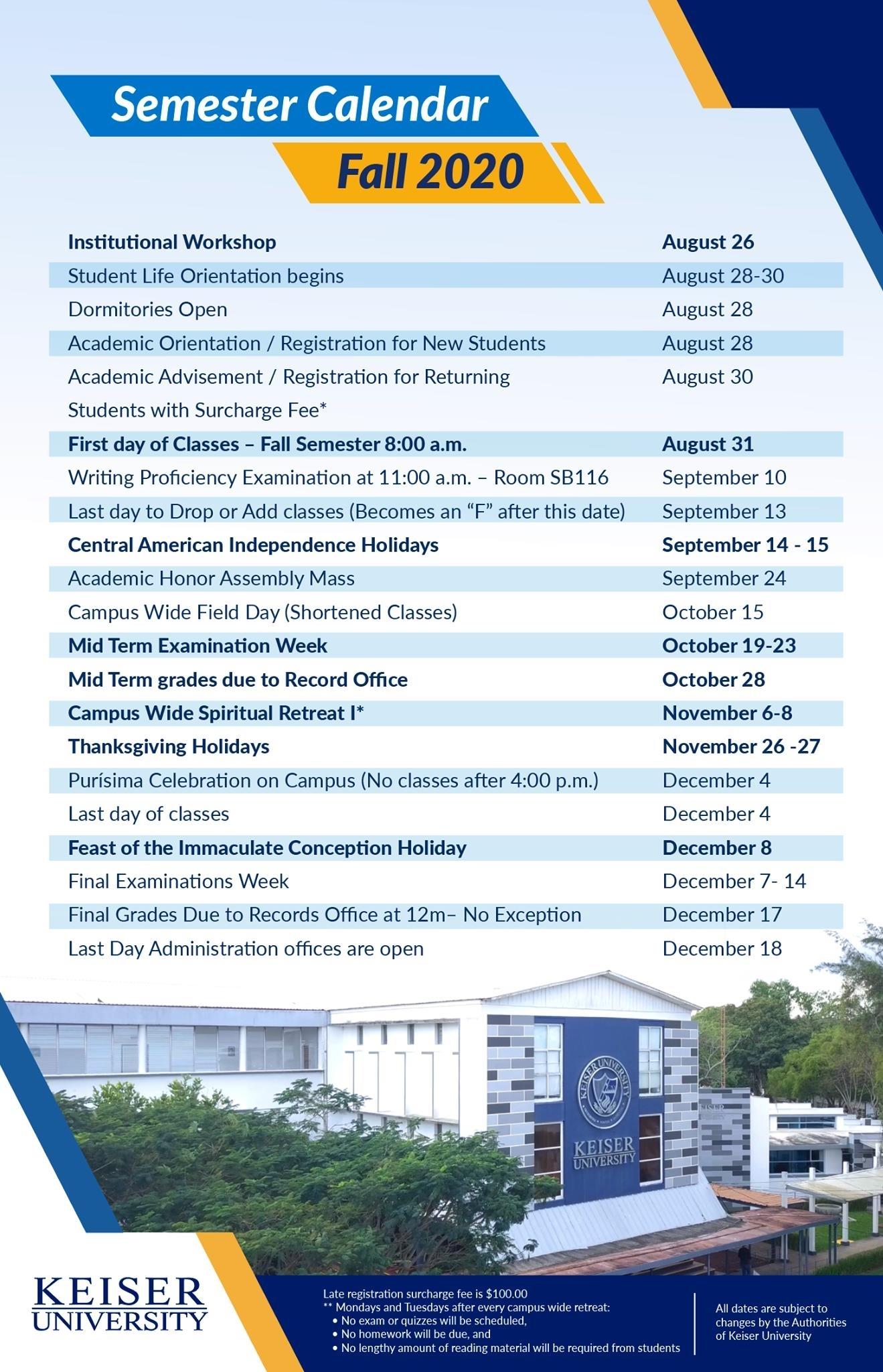 Academic Calendars Keiser University