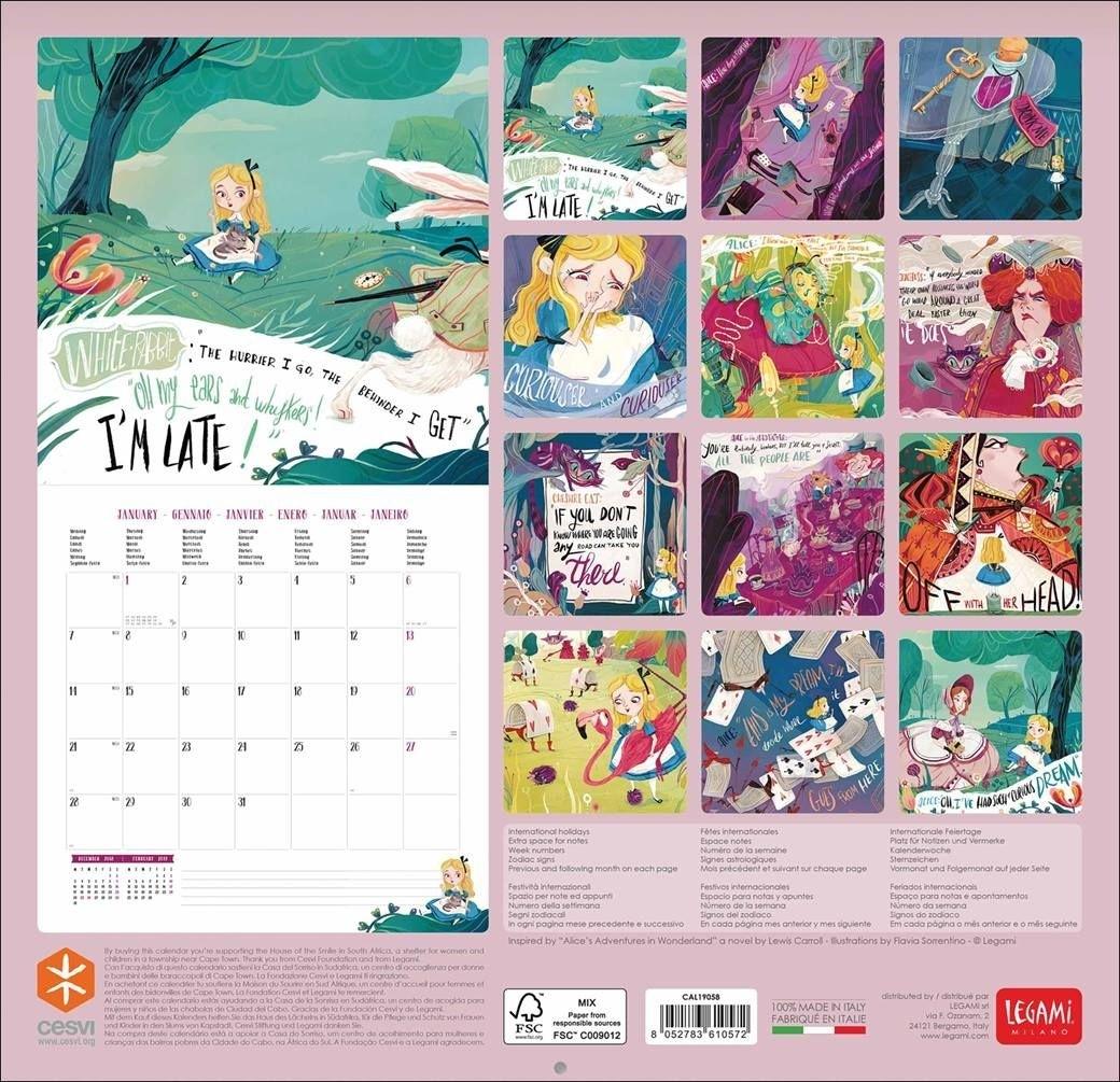 Alice In Wonderland Calendar 2019 - Calendar Club Uk In 2020