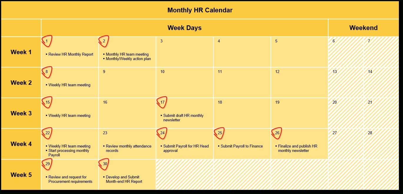 An Hr Calendar … Why Not? | Handover Consulting