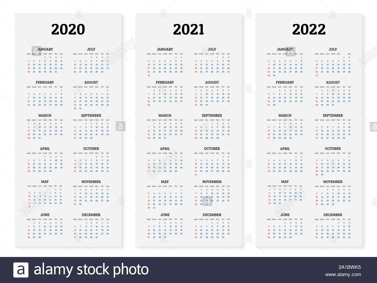 Annual Calendar 2020, 2021 And 2022 Template Vector