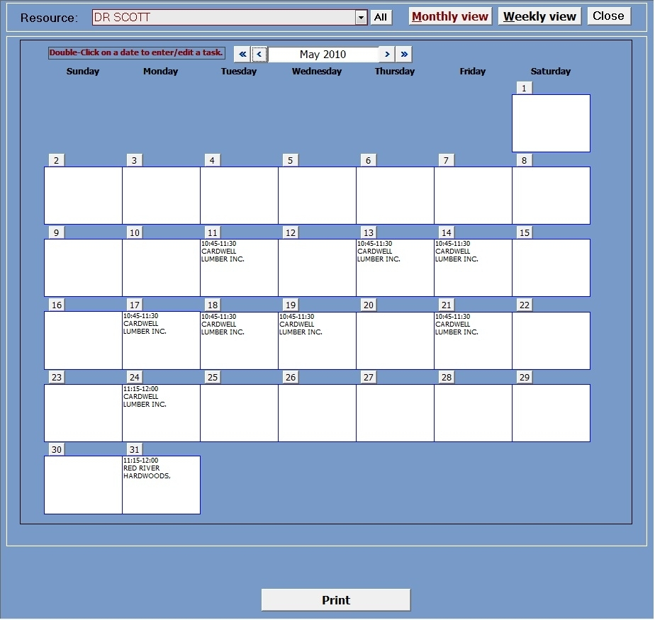 Appointment Planner Ms Access Templates