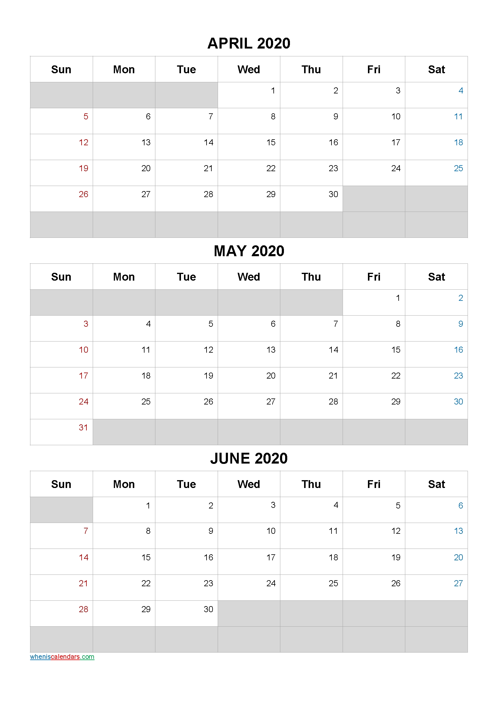 April May June 2021 Free Printable 3 Month Calendar-No