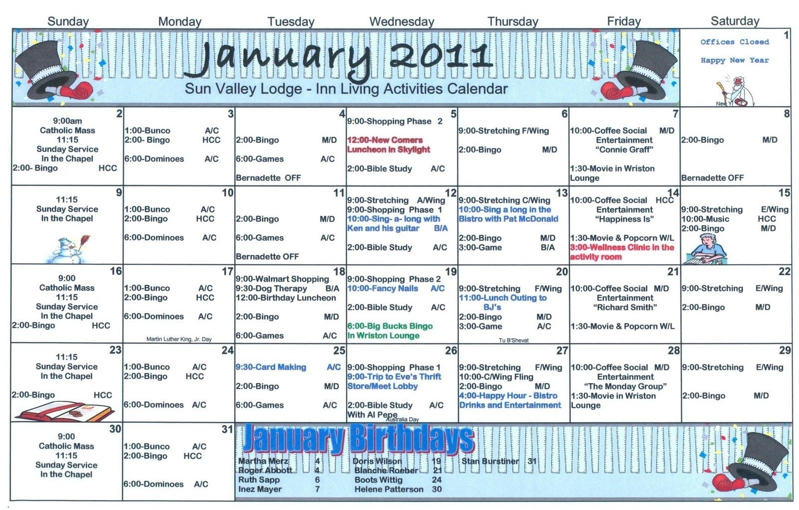 Assisted Living Activity Calendar Format In 2020 | Assisted