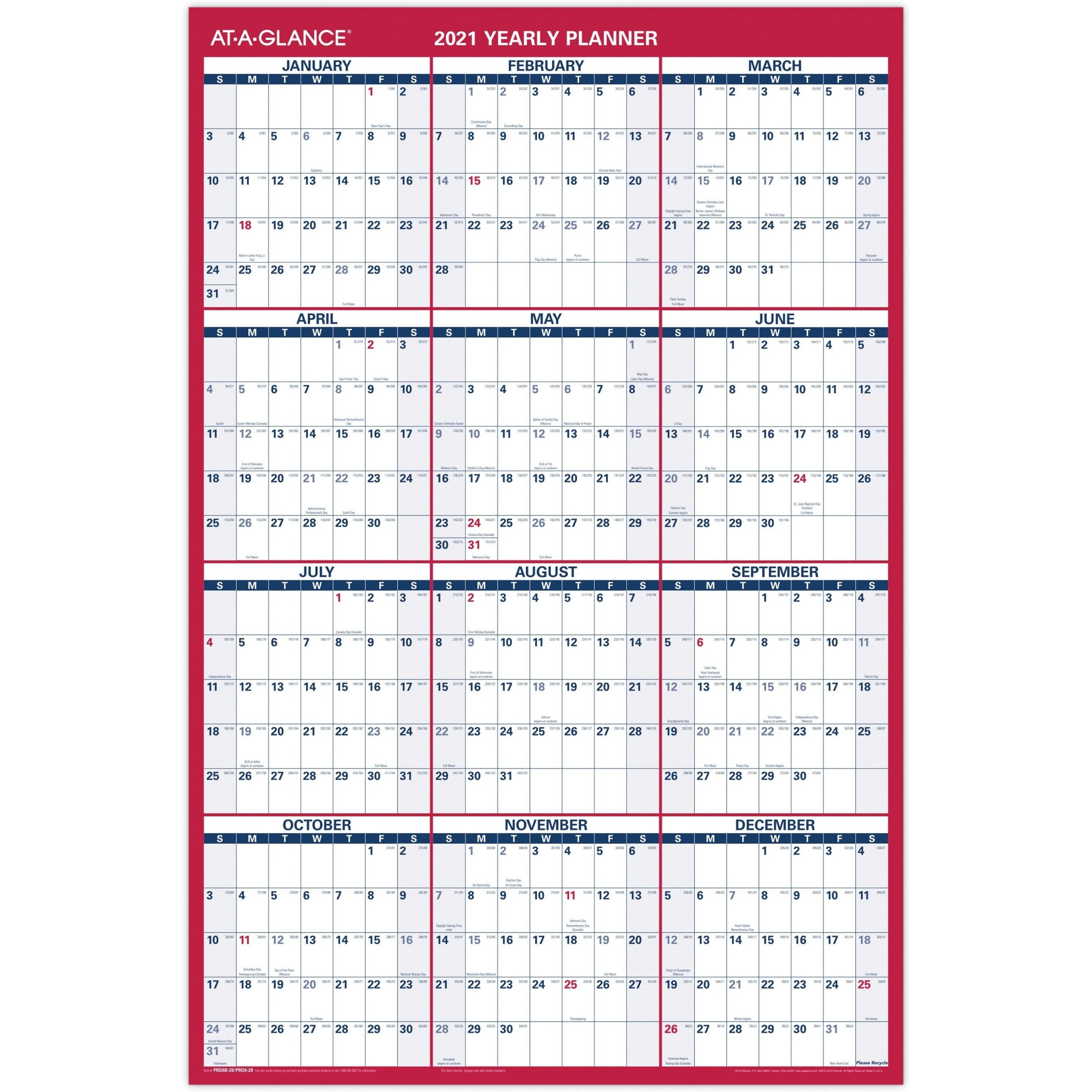 At-A-Glance Erasable/Reversible Yearly Wall Planner --Aagpm26-28