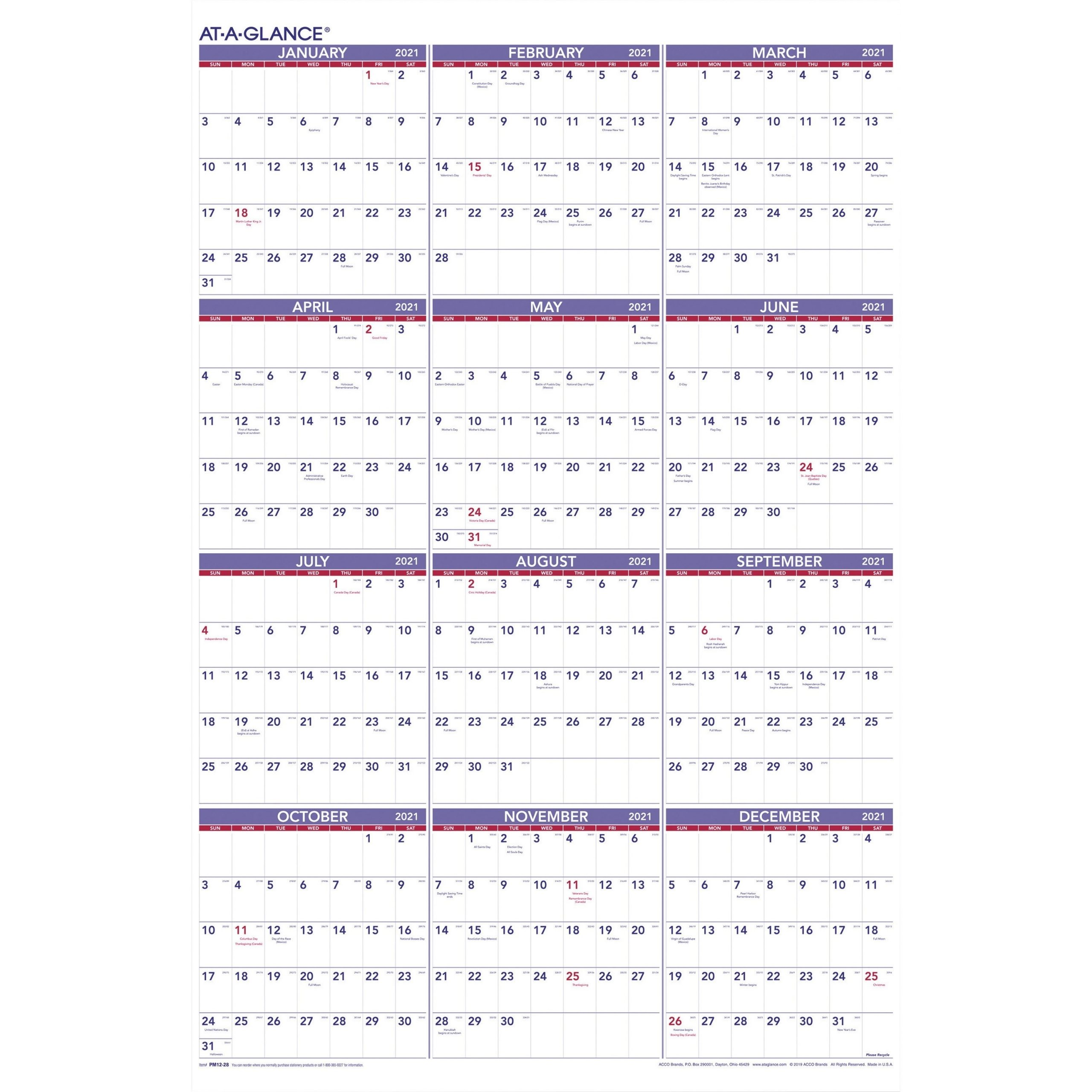 """At-A-Glance Yearly Wall Calendar - Julian Dates - Yearly - 1 Year - January  2021 Till December 2021 - 1 Year Single Page Layout - 24"""" X 36"""" Sheet Size"""
