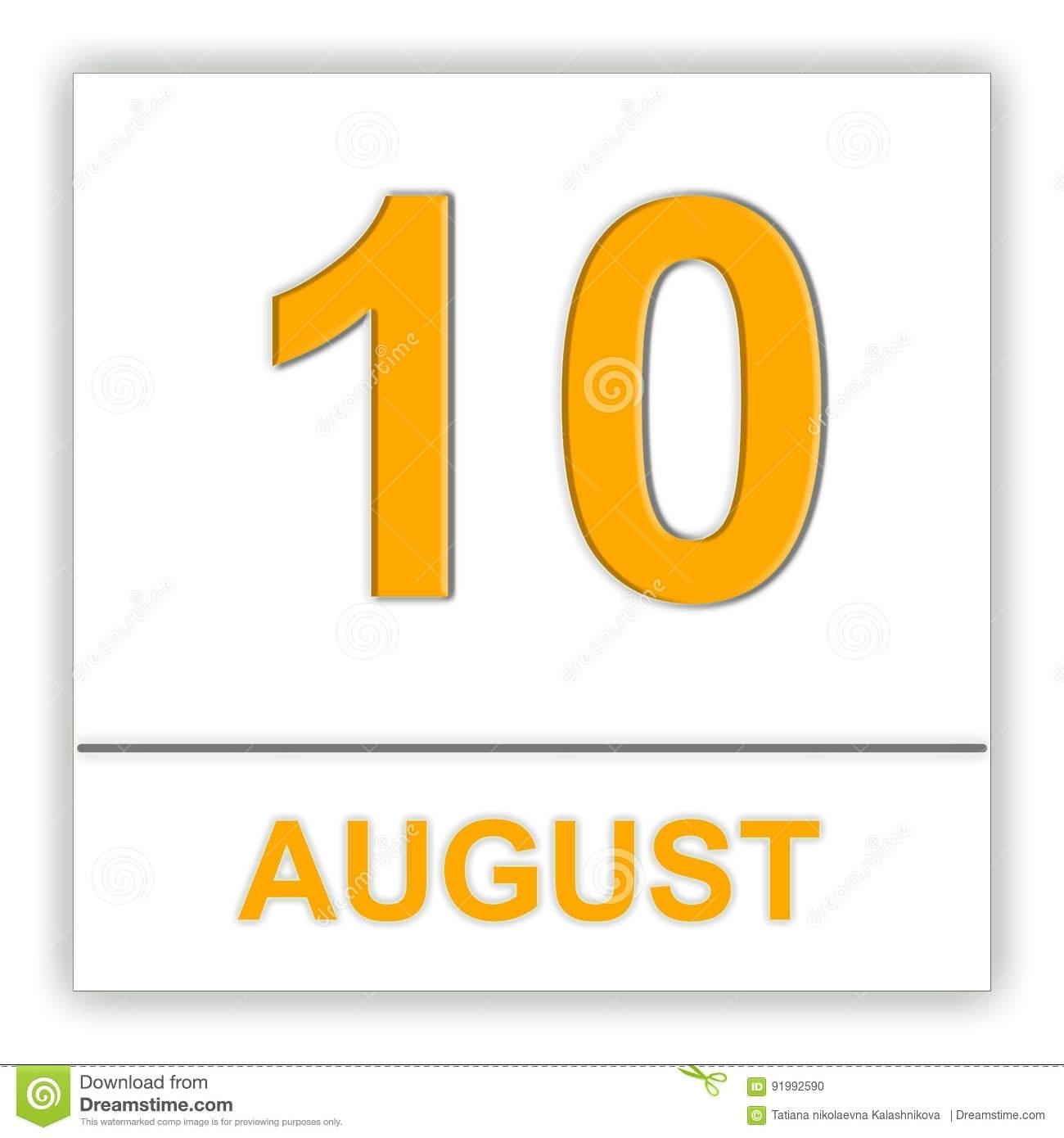 August 10 Day On The Calendar Stock Illustration