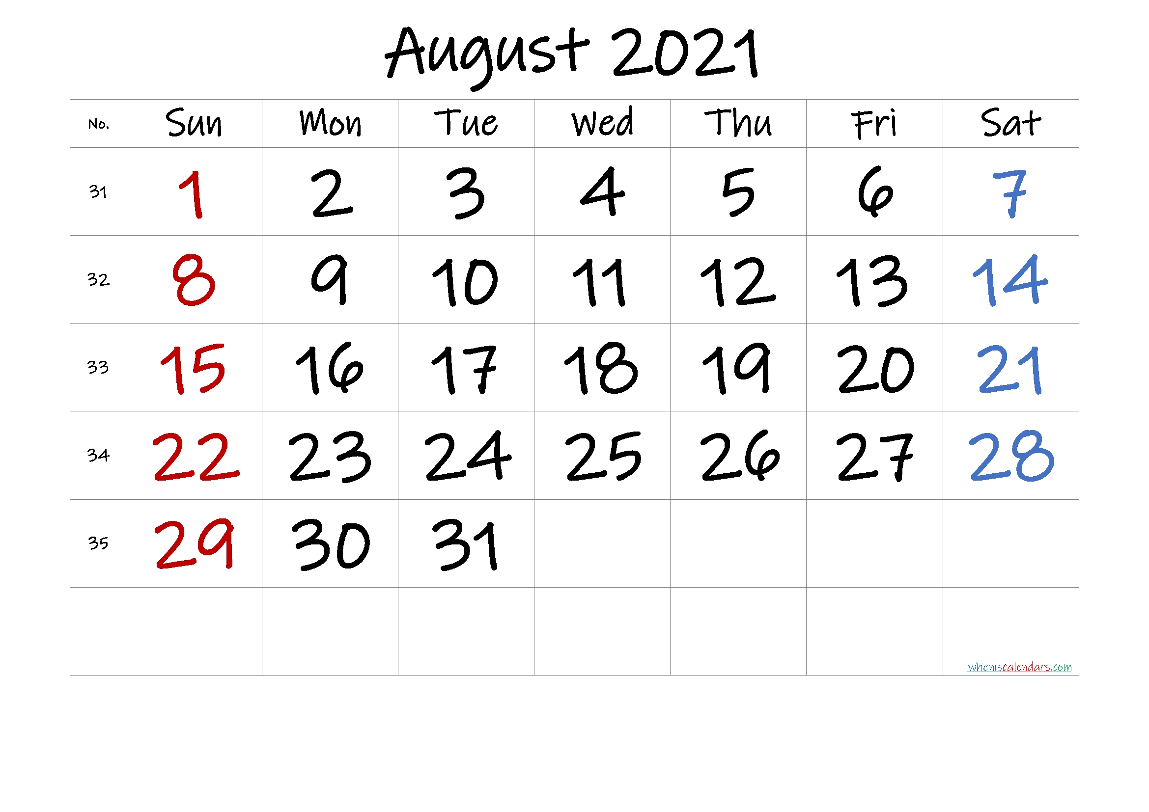 August 2021 Printable Calendar With Holidays – Free 2020 And