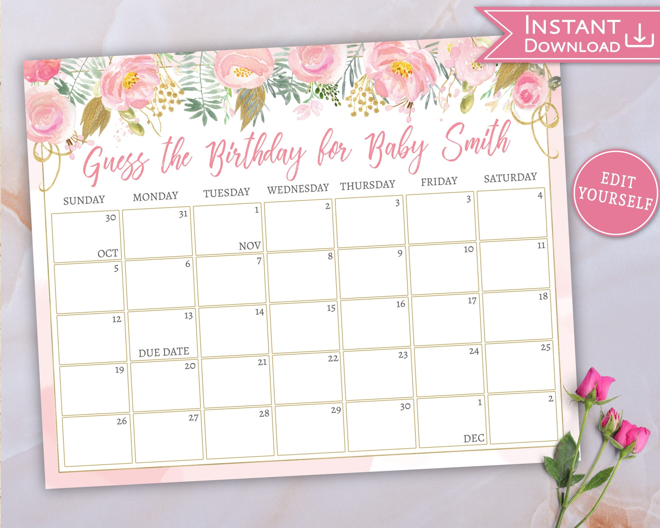 Baby Due Date Calendar, Guess Baby'S Birthday, Floral Pink Gold Baby  Shower, Baby Shower Game, Editable Template, Calendar Baby Shower, P7