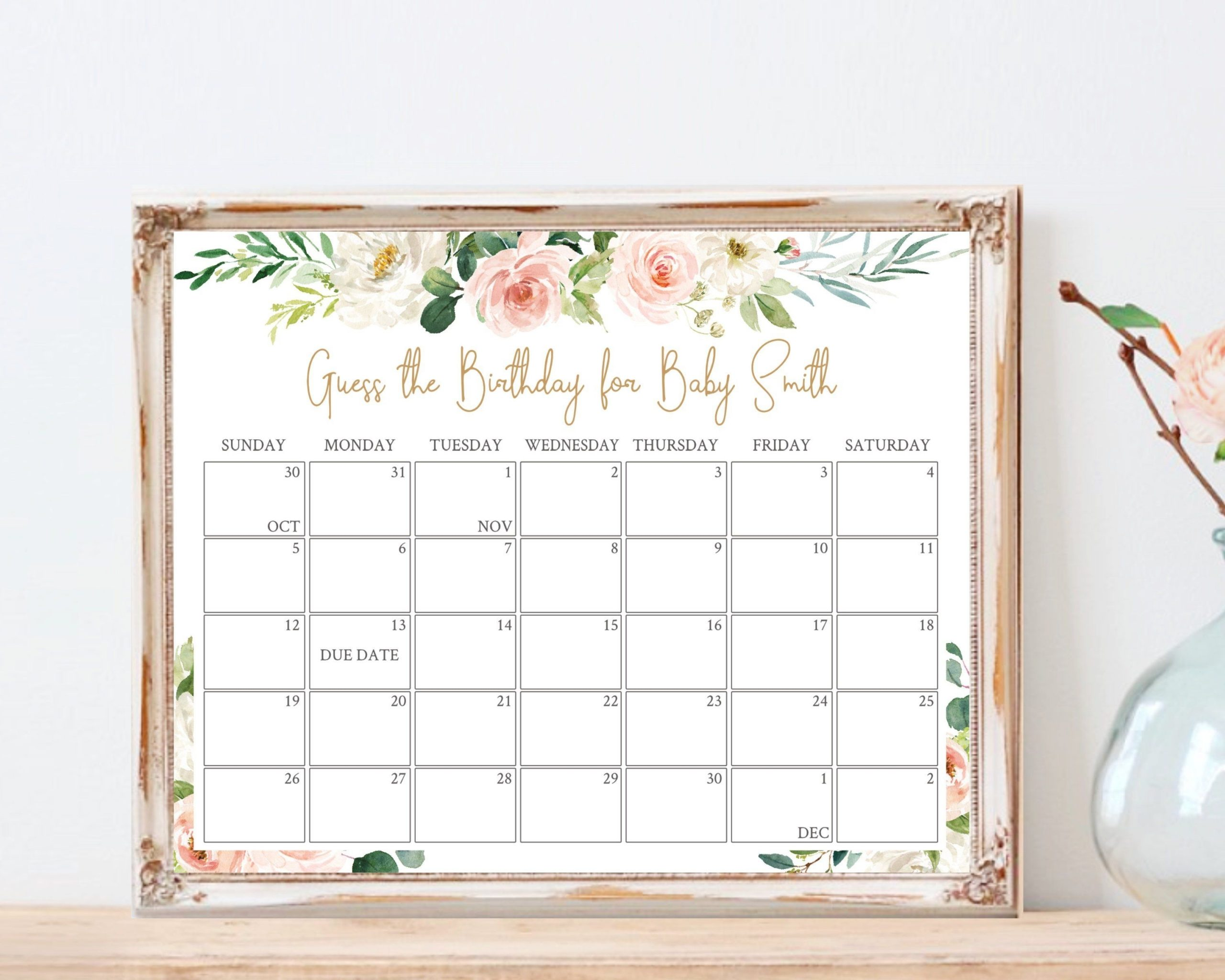 Baby Due Date Calendar Printable Game Guess Baby Birthday