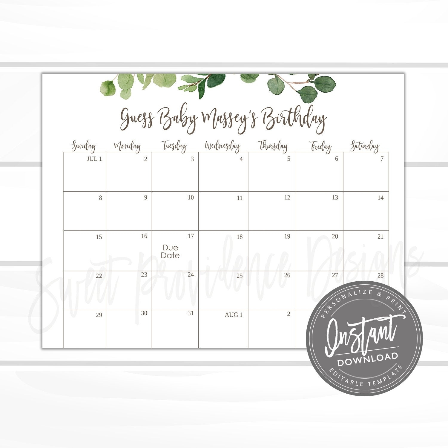 Baby Shower Due Date Calendar Game