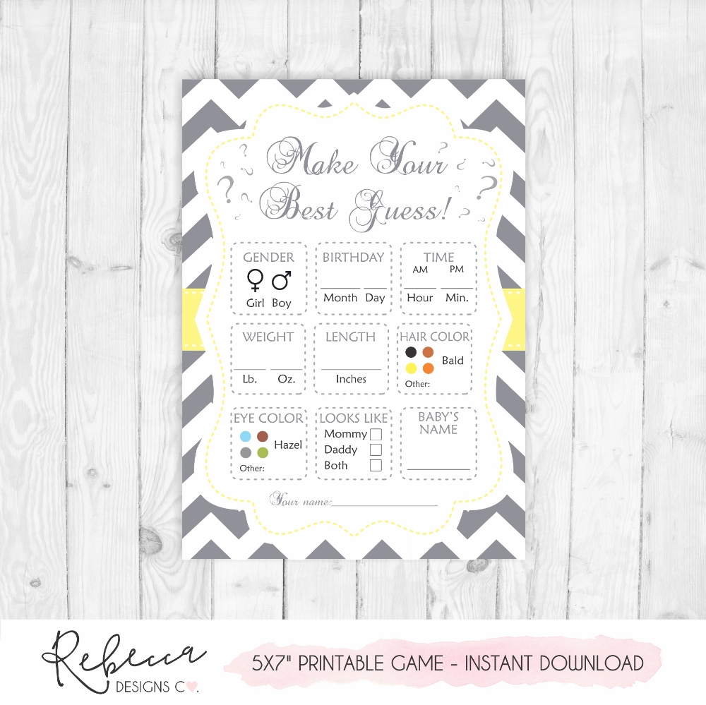 Baby Shower Game Printable Guess The Baby'S Weight Baby