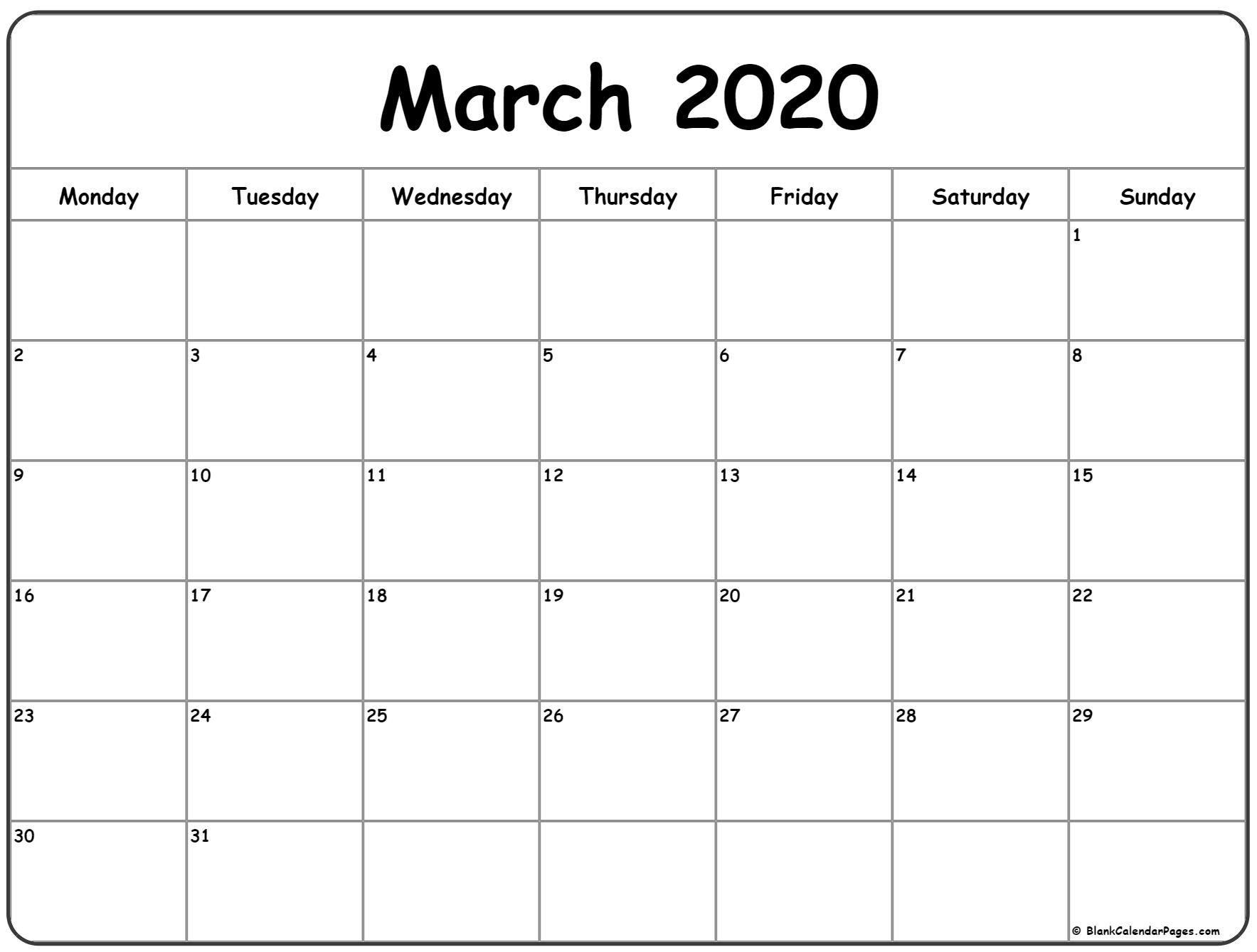 Best Free Printable Monthly Calendar Monday Thru Friday In