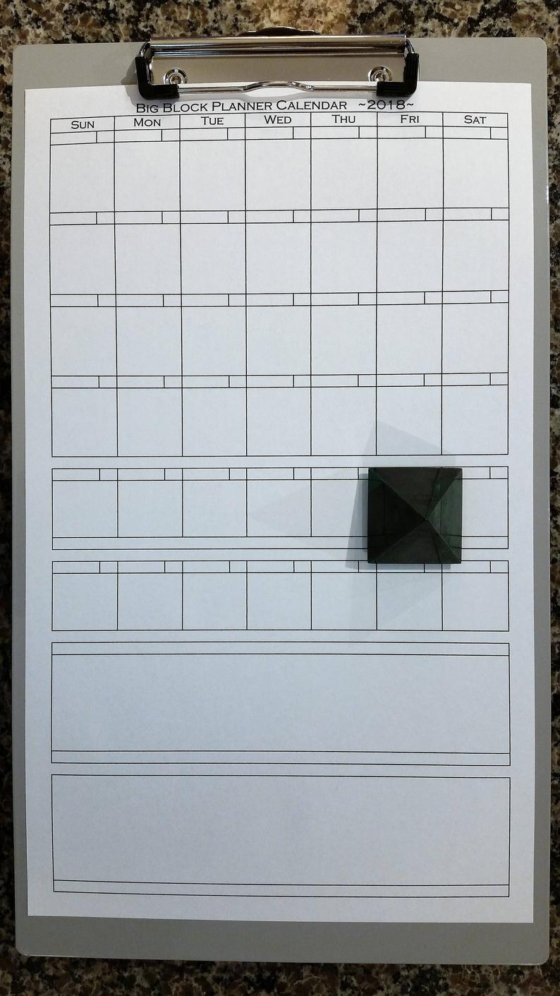 Big Block Planner Calendar ~2018~ Printable Legal Size