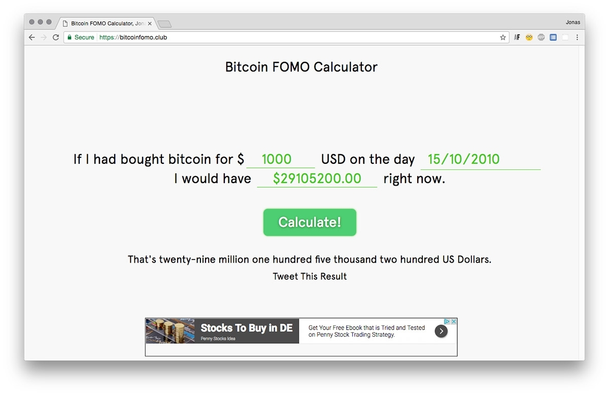 Bitcoin Fomo Calculator
