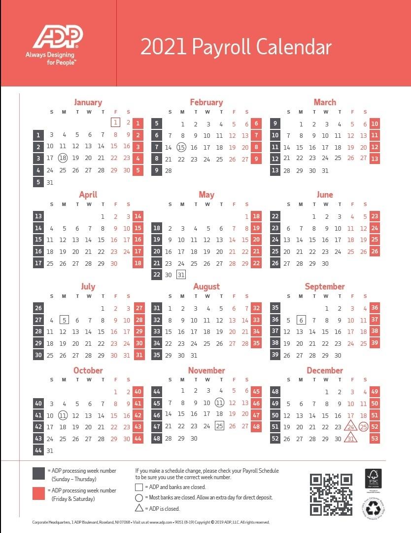 Biweekly Payroll Calendar 2021 | Payroll Calendar