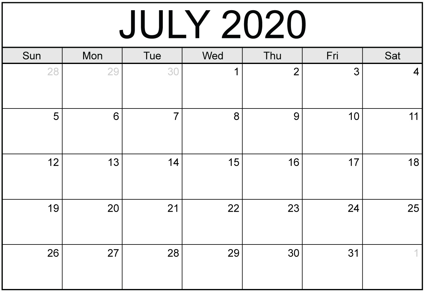 Blank July 2020 Calendar With Notes - 2019 Calendars For