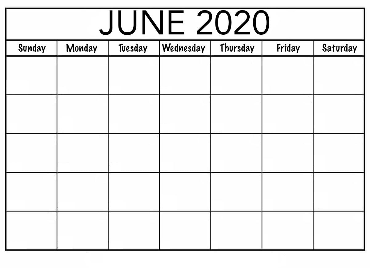 Blank June 2020 Calendar — Printable Monthly | By