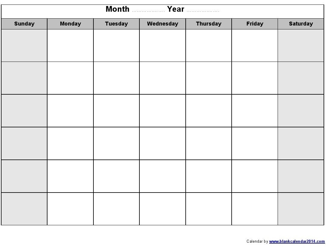 Blank Monthly Calendar 2014 Printable | Blank Monthly