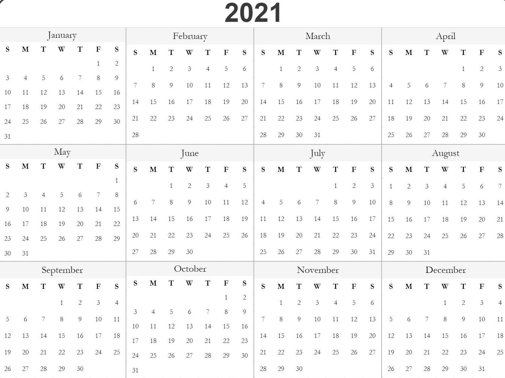 Blank Printable 2021 Calendar Template   Calendar Printables