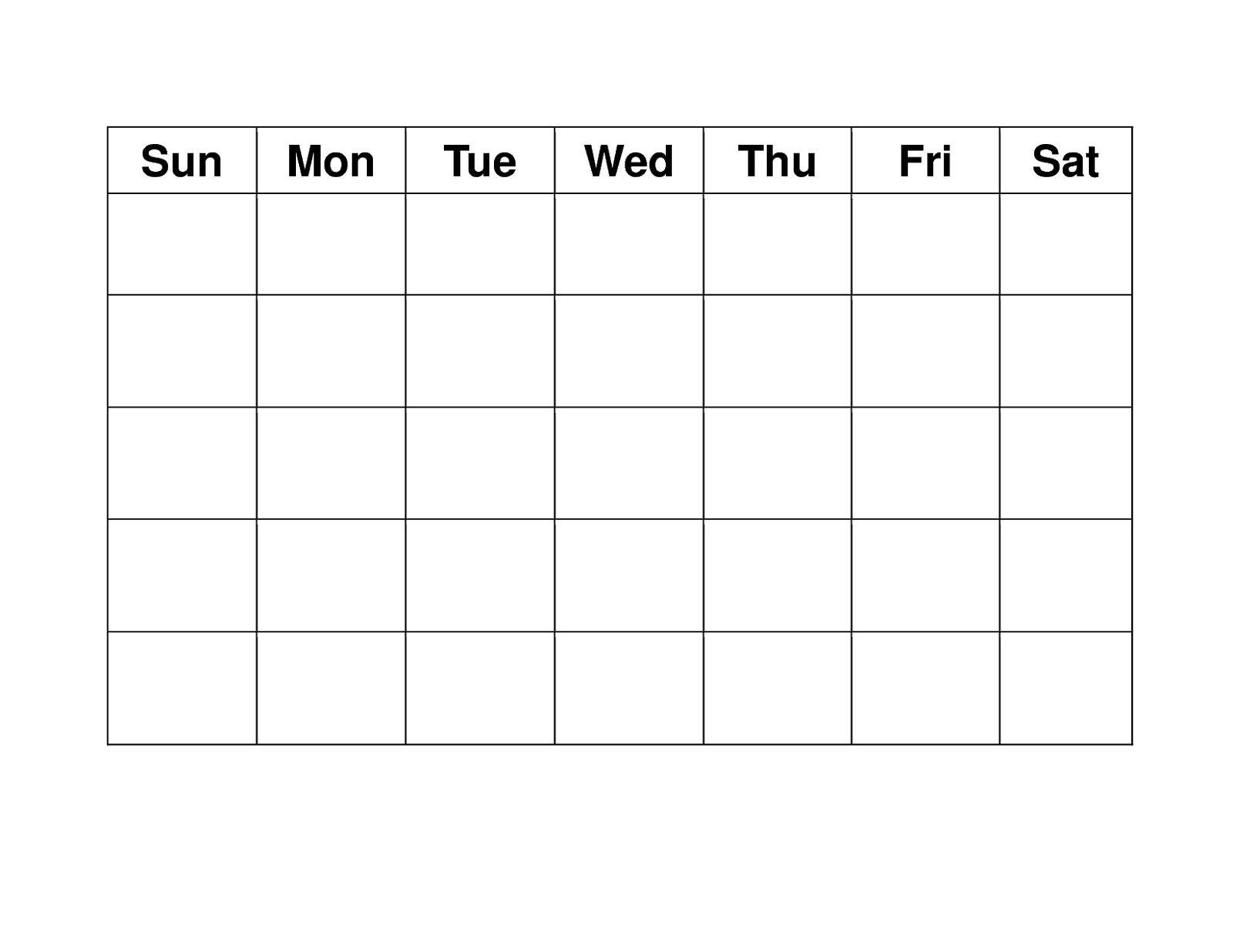 Blank Weekly Calendars Printable | Calendar Template