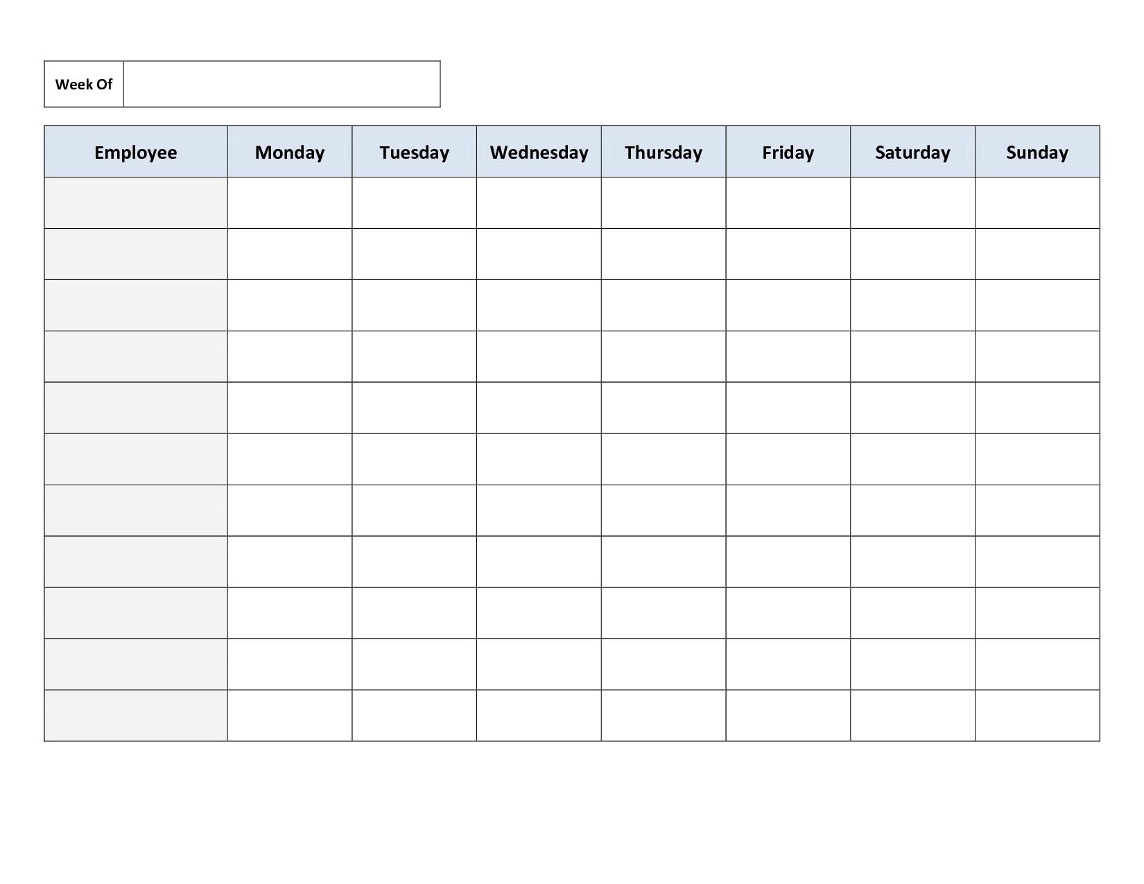 Blank Weekly Work Schedule Template | Cleaning Schedule