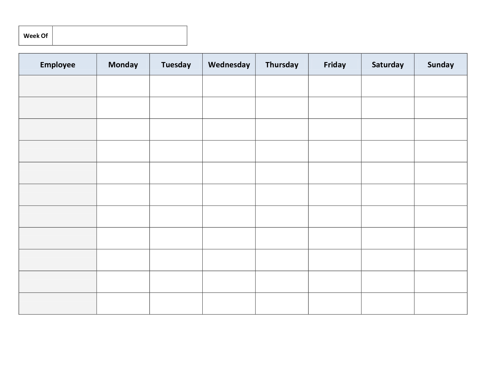 Blank Weekly Work Schedule Template | Cleaning Schedule