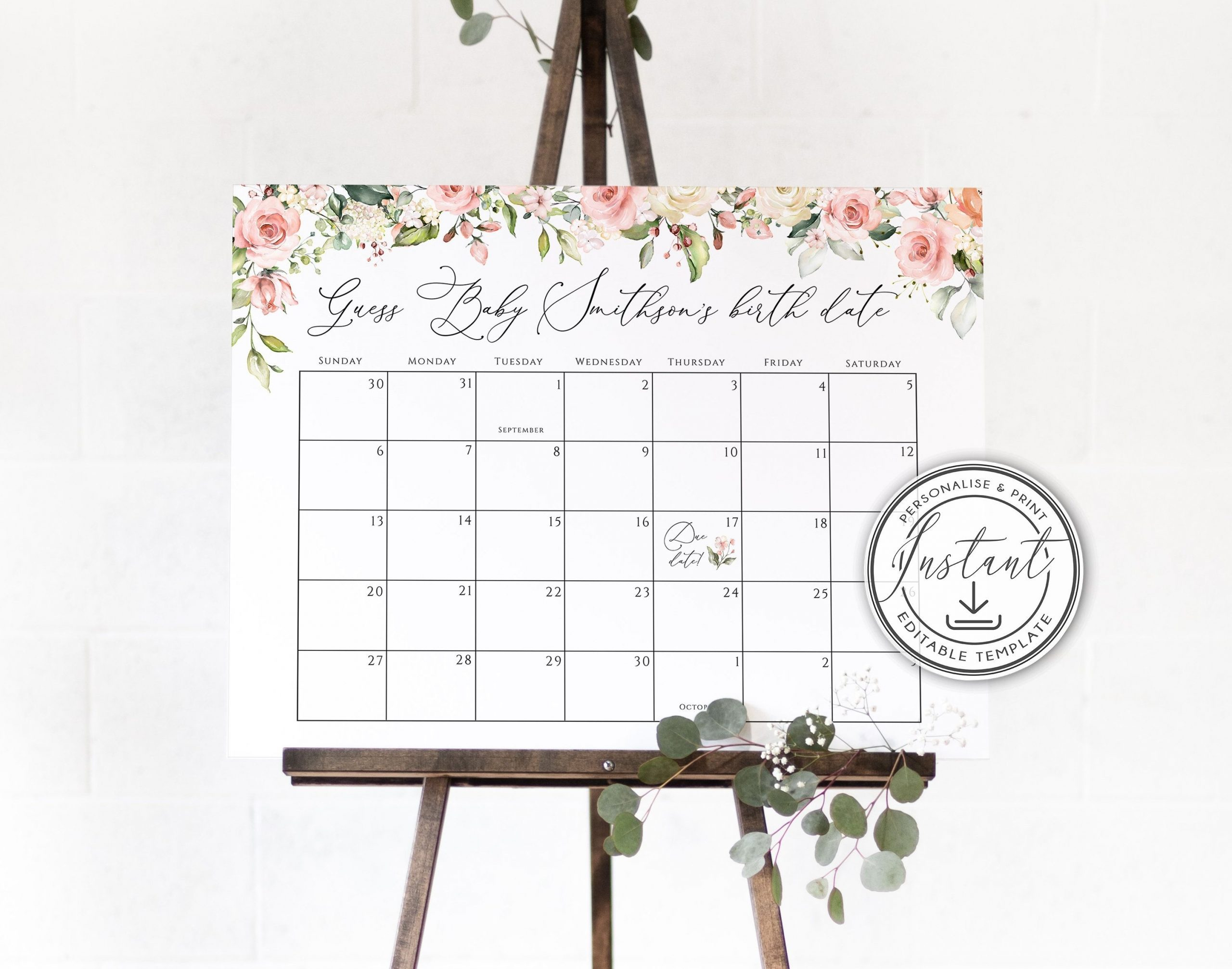 Blush Pink Guess Baby Due Date Calender Game Sign Editable