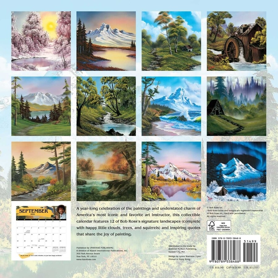 Bob Ross 2021 Wall Calendar - Book Summary & Video