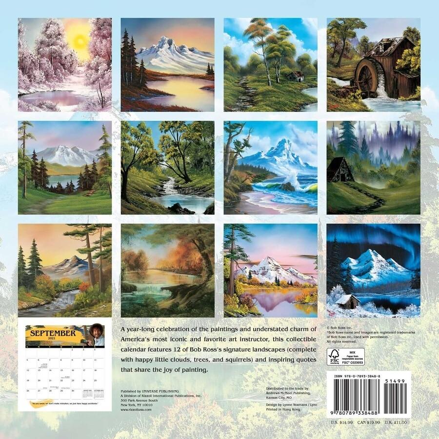 Bob Ross 2021 Wall Calendar - Book Summary & Video