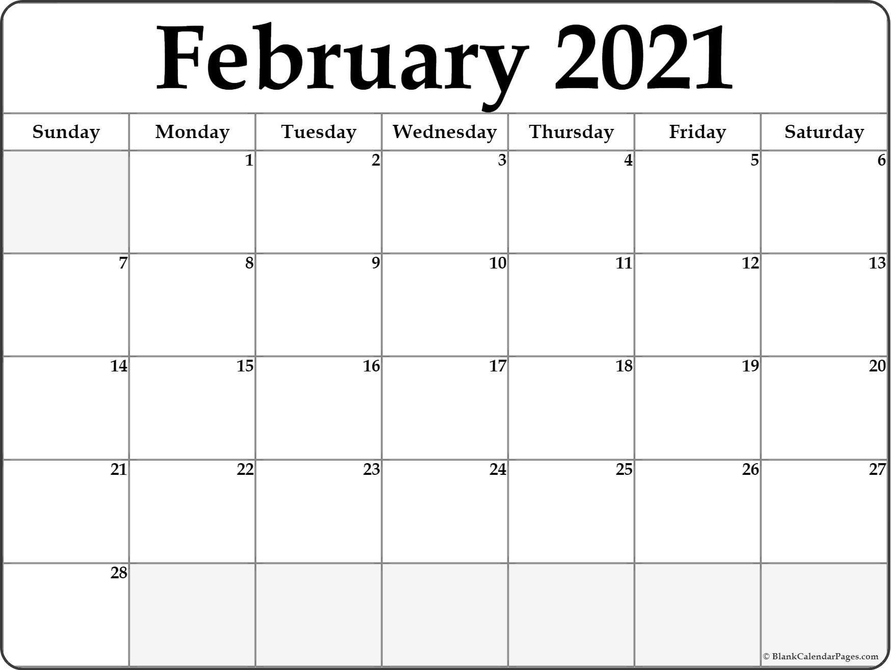 Calendar 2021 January February Blank | Calendar Printables
