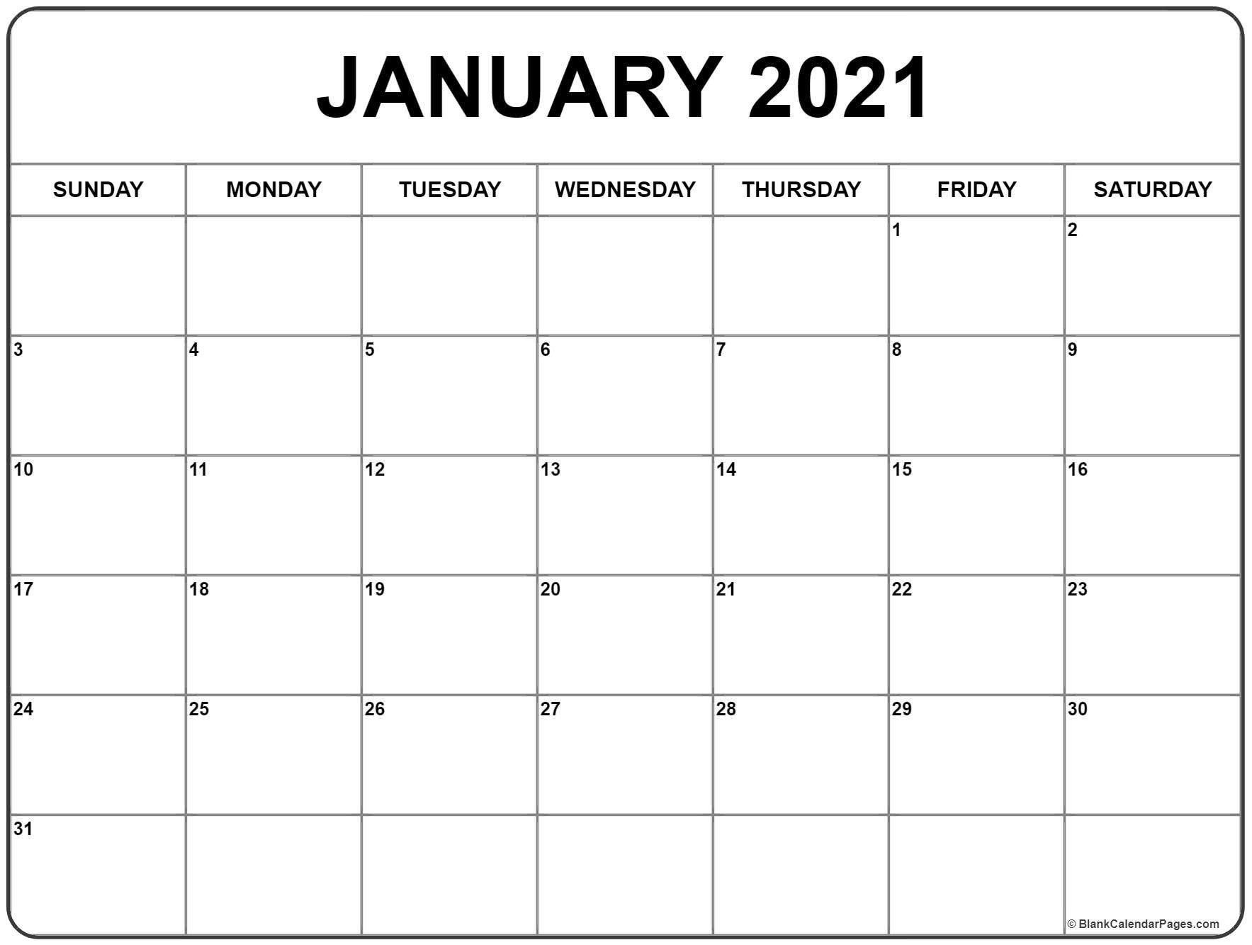 Calendar January 2021 Printable In 2020 | Print Calendar