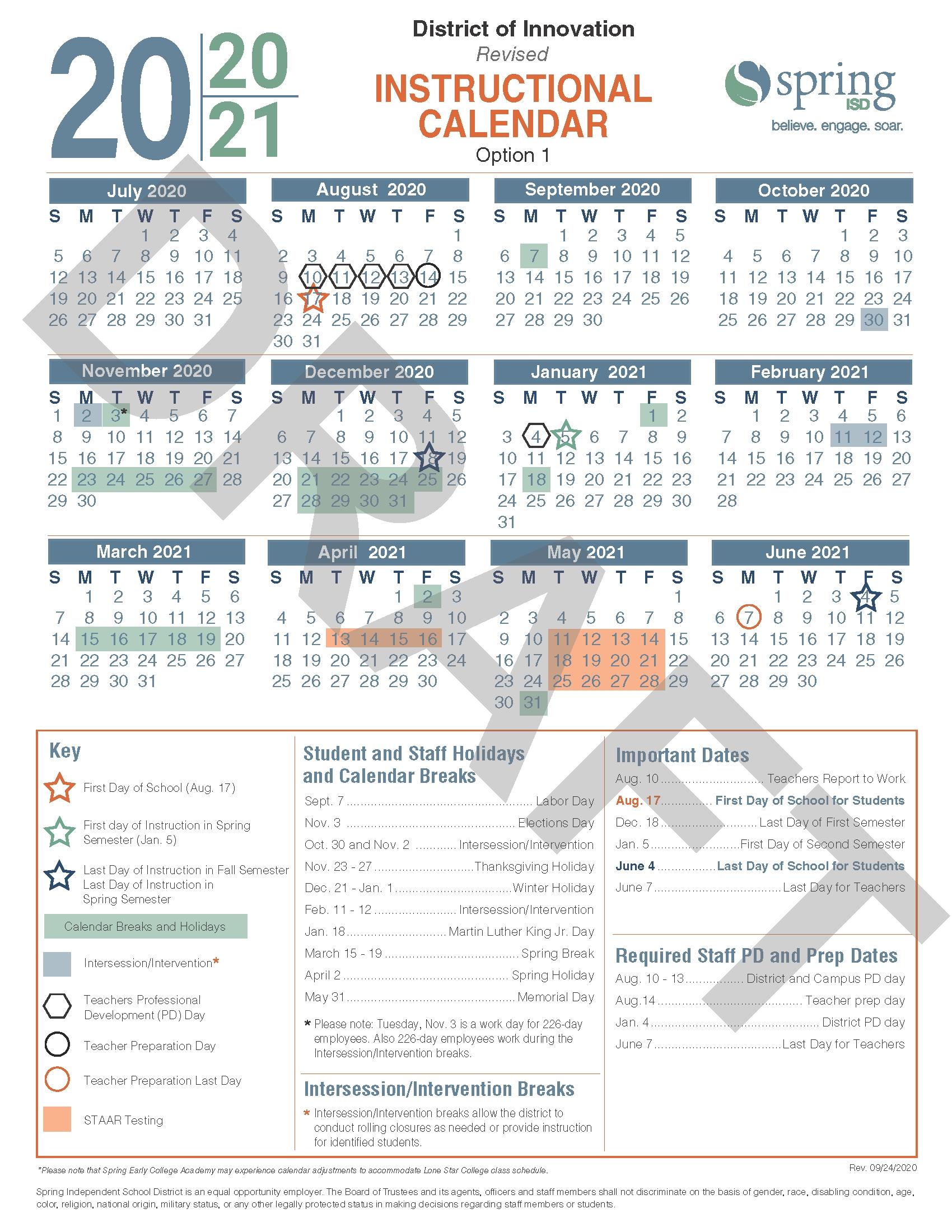 Calendar Survey / Revised 2020-21 Instructional Calendar
