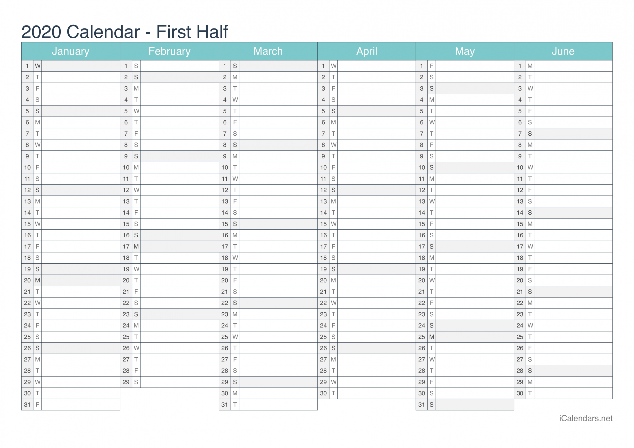 Calendar With Days Numbered 2020 Pdf Excel In 2020