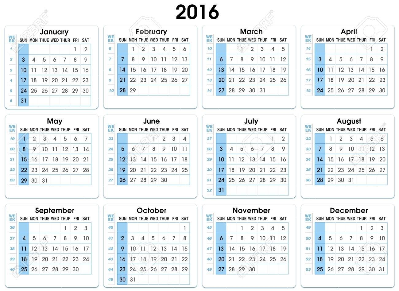 Calendario 2016 12 Meses, Indicando Número Semana 2016 Calendario Con  Números De Semana