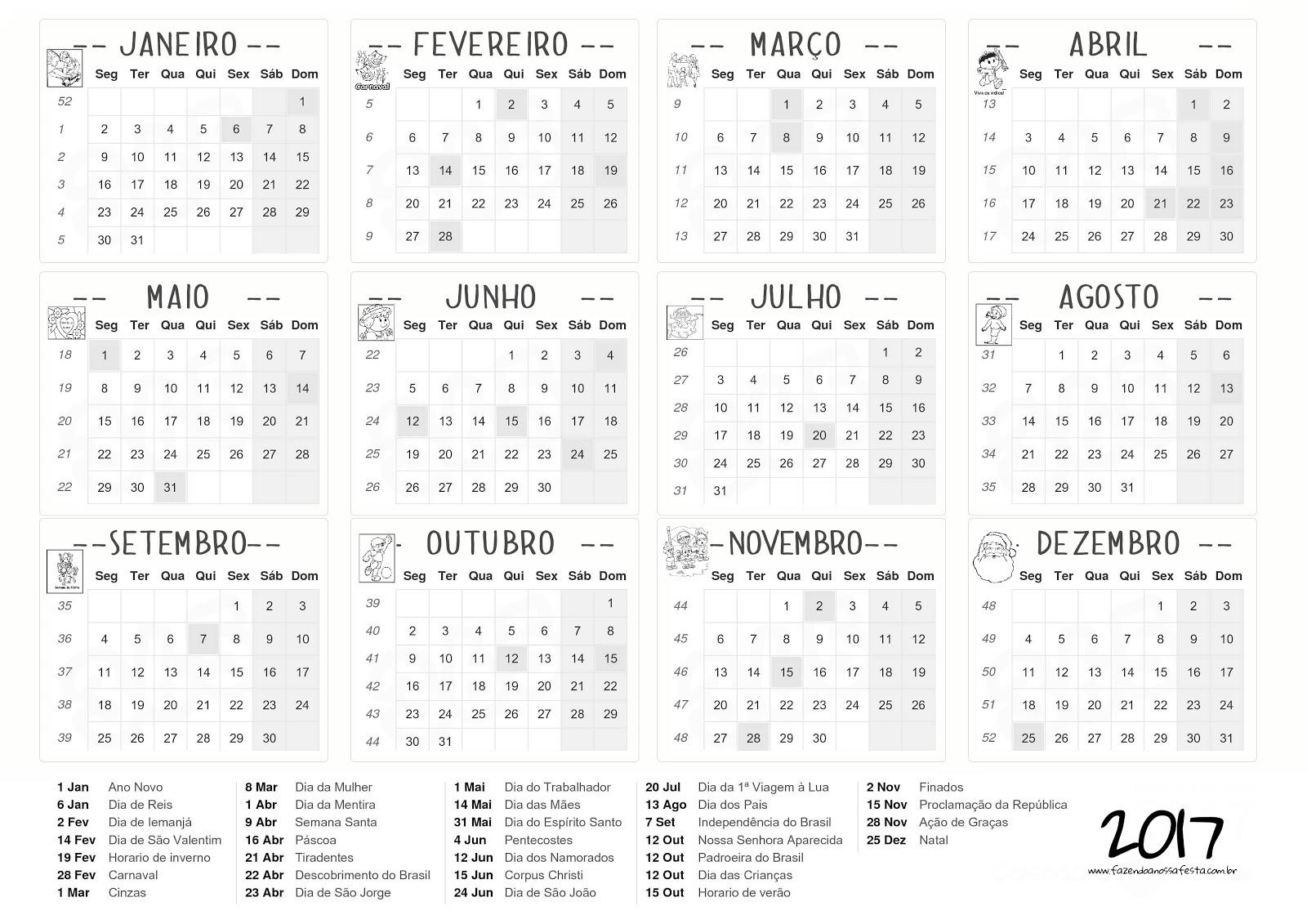 Calendário 2017 Imprimir E Baixar ~ Cantinho Das Atividades