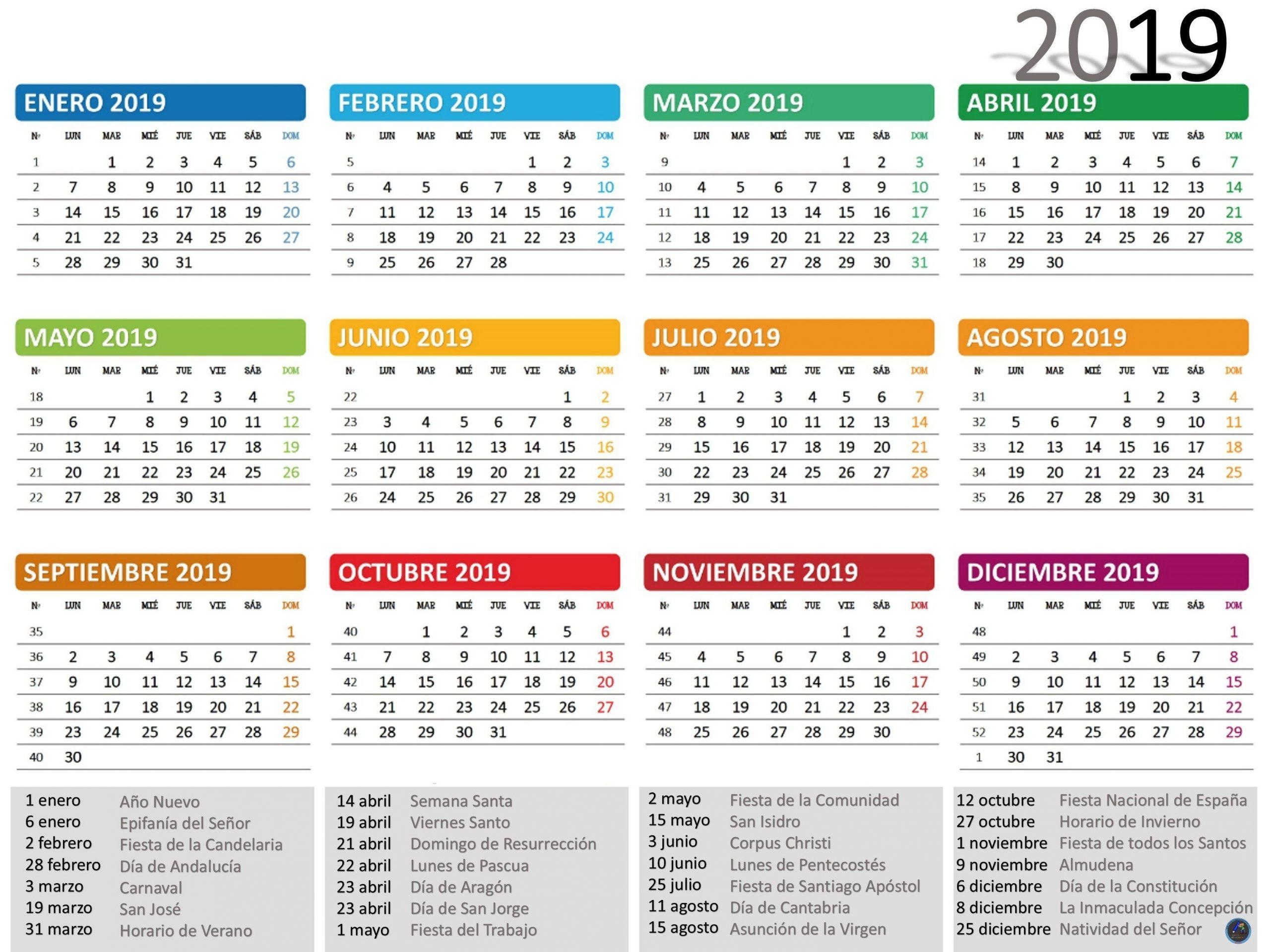 Calendario 2019 | Calendario Para Imprimir, Imprimir Sobres